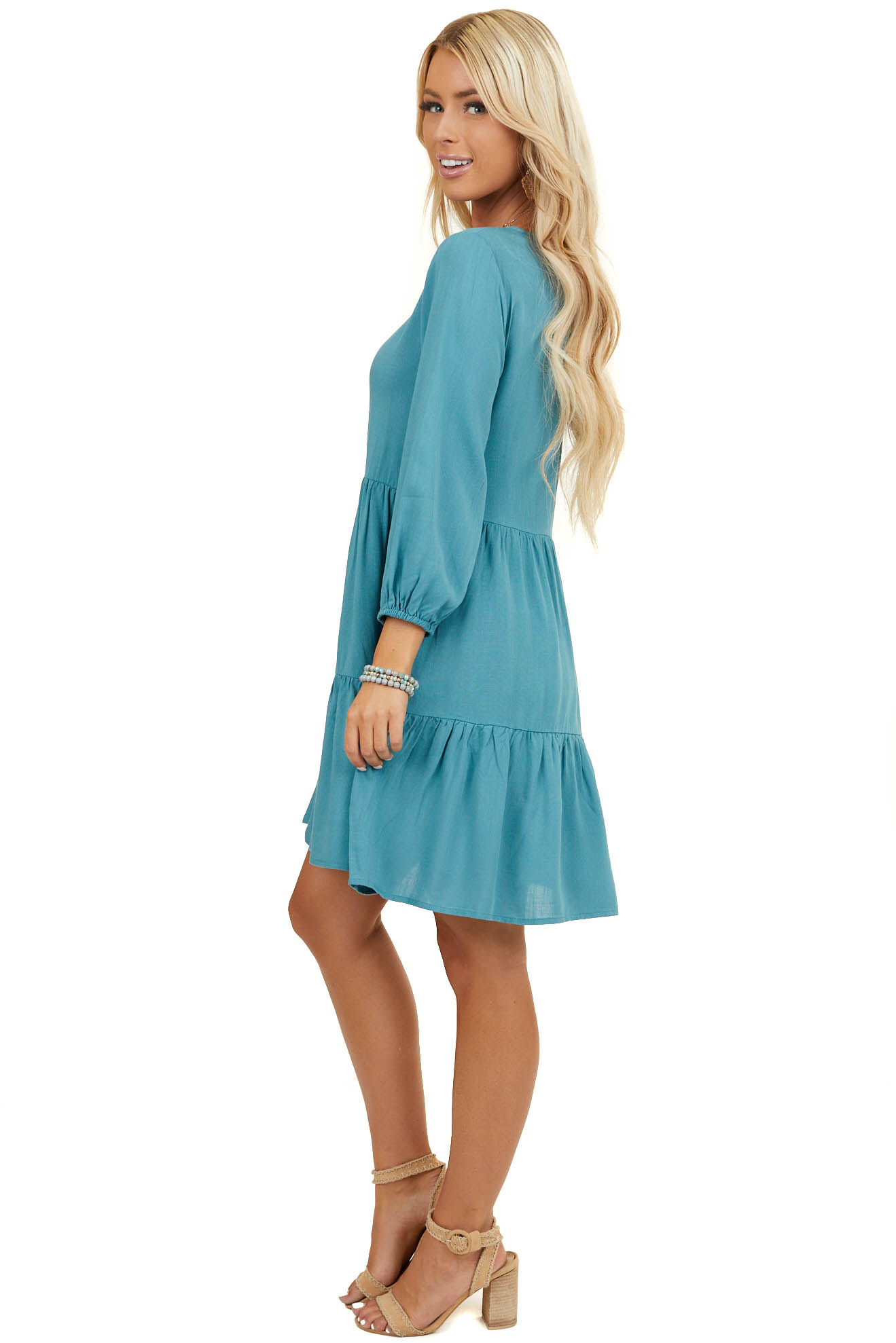 Pine Green Tiered Woven Dress with 3/4 Length Bubble Sleeves