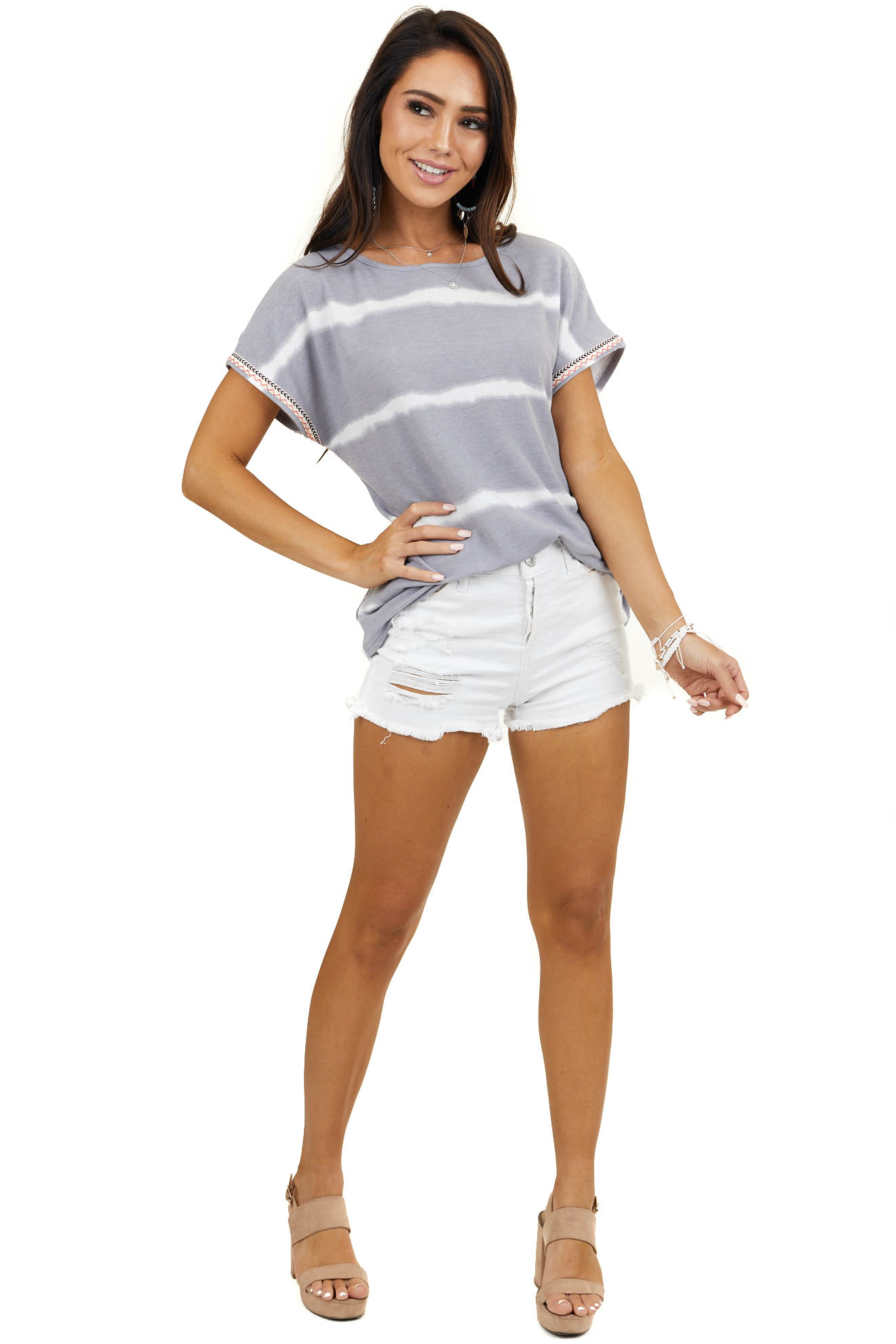 Heather Grey Tie Dye Top with Embroidered Detail on Sleeves