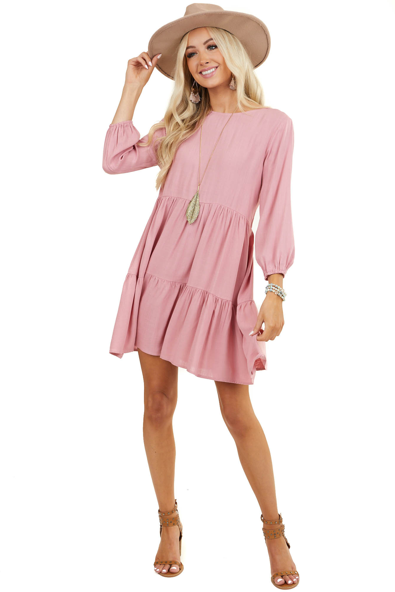 Dusty Pink Tiered Woven Dress with 3/4 Length Bubble Sleeves
