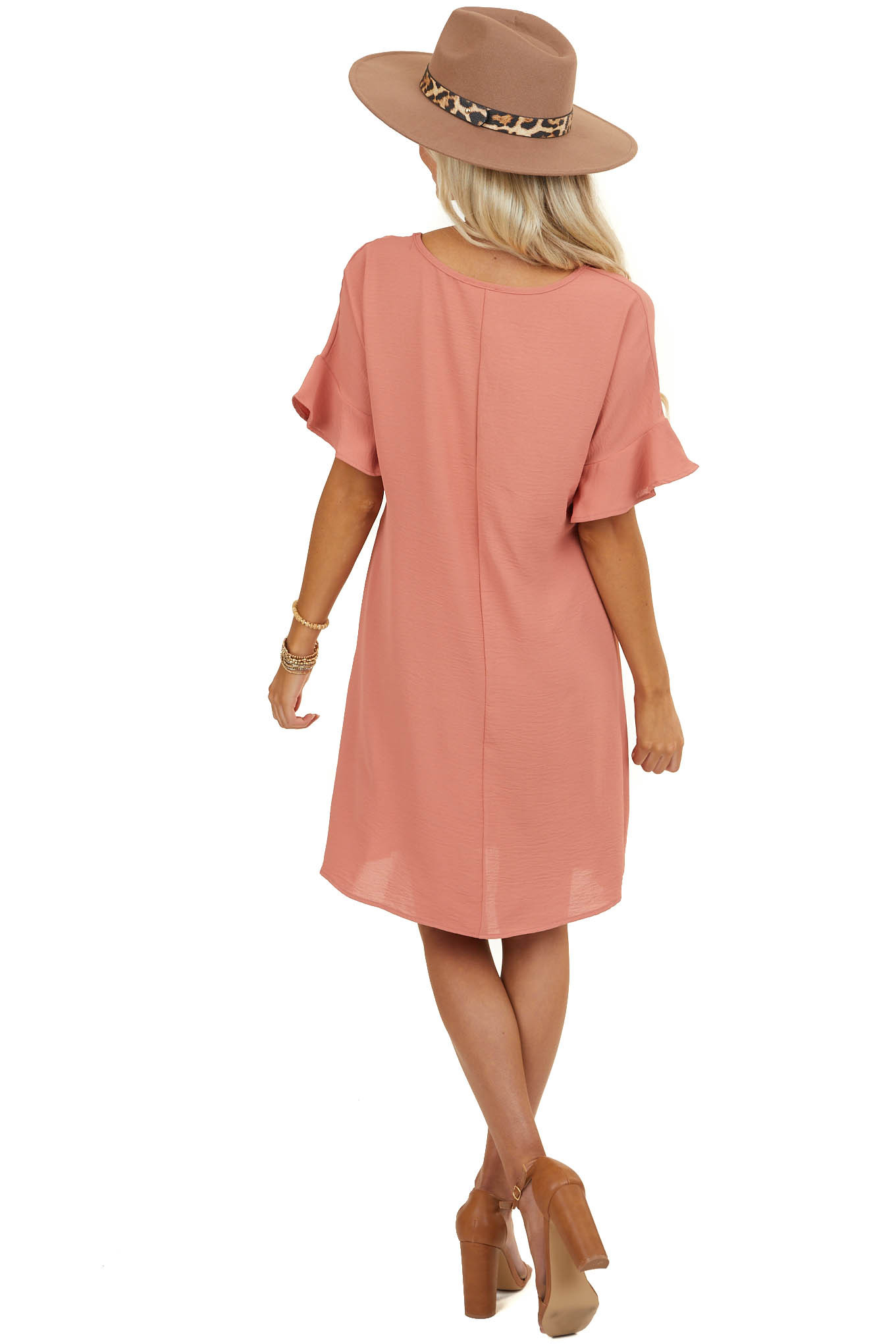 Terracotta Short Dress with V Neck and Short Ruffle Sleeves