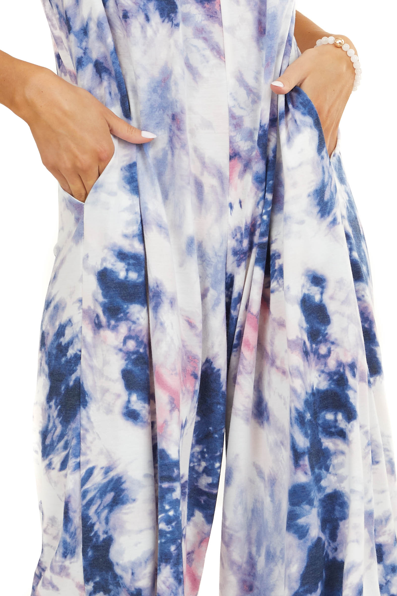 Blue and Pink Tie Dye Sleeveless Jumpsuit with Wide Leg