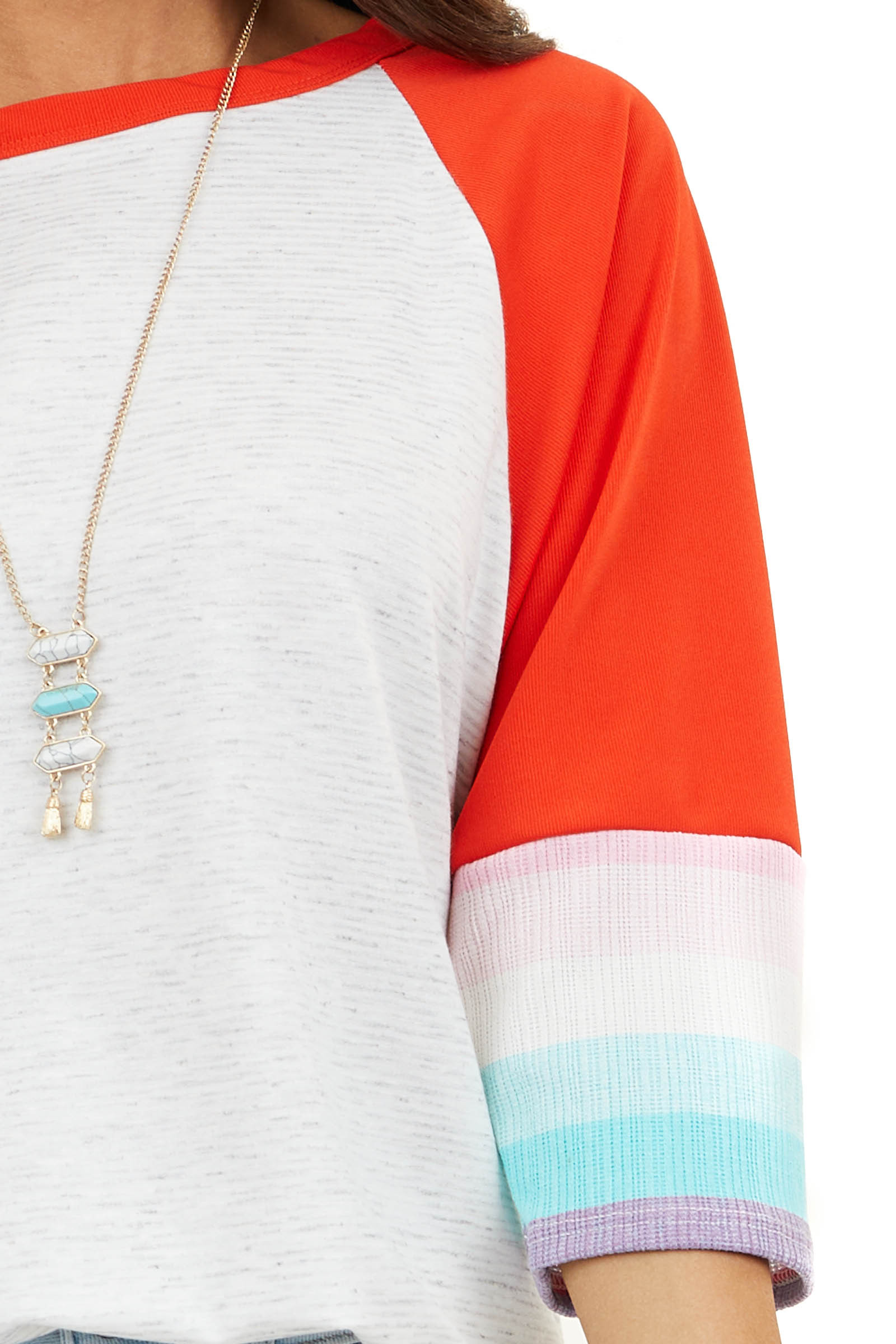 Ivory Stripe Print Tee with Red Contrasting Dolman Sleeves