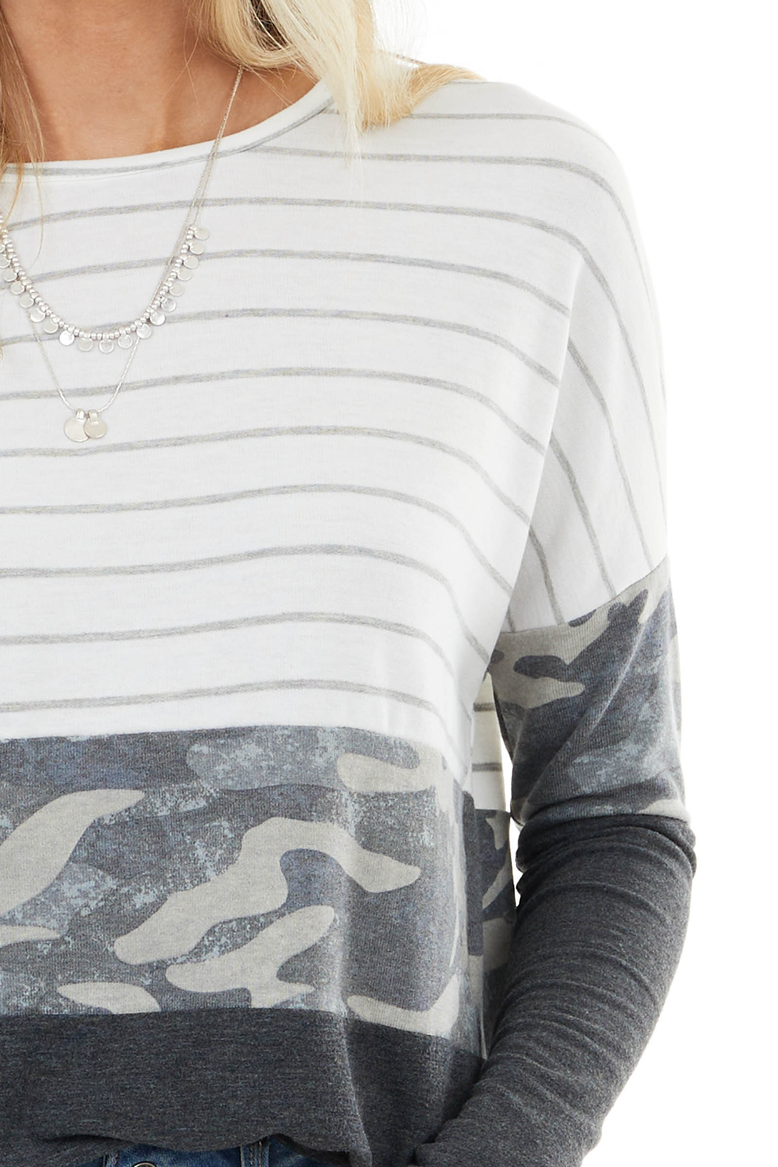 Charcoal Camo and Striped Color Block Long Sleeve Top