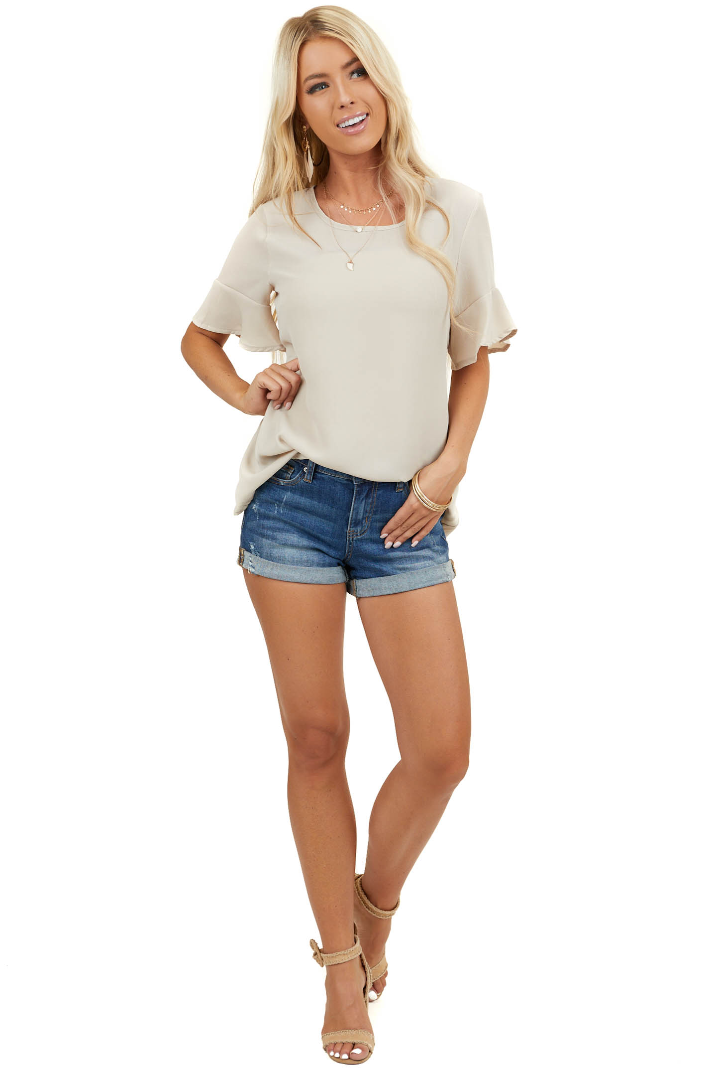 Oatmeal Round Neck Chiffon Top with Short Ruffle Sleeves