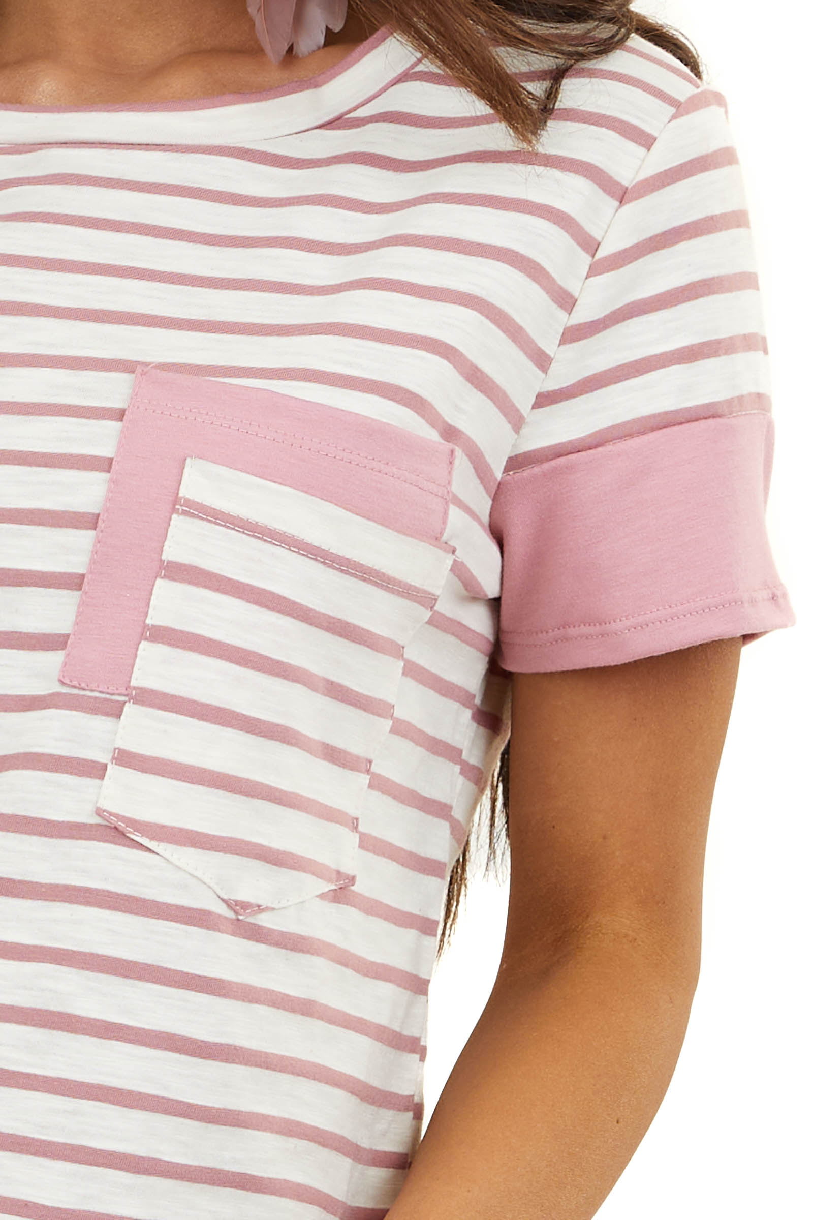 Ivory Striped Short Sleeve Top with Dusty Blush Contrast