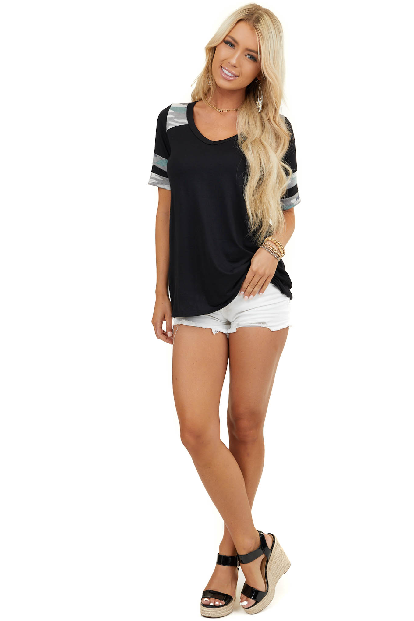Black Short Sleeve V Neck Knit Top with Camo Contrasts