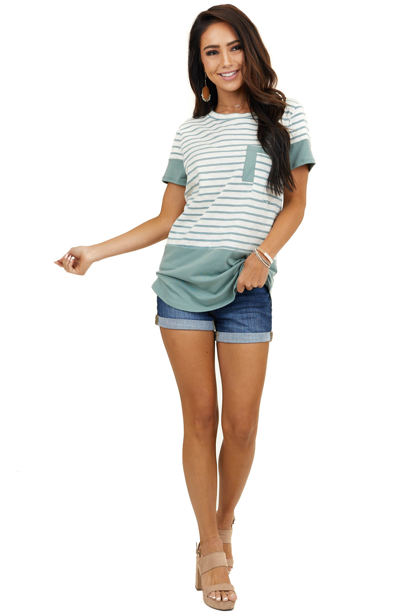 Ivory Striped Short Sleeve Knit Top with Sage Contrast