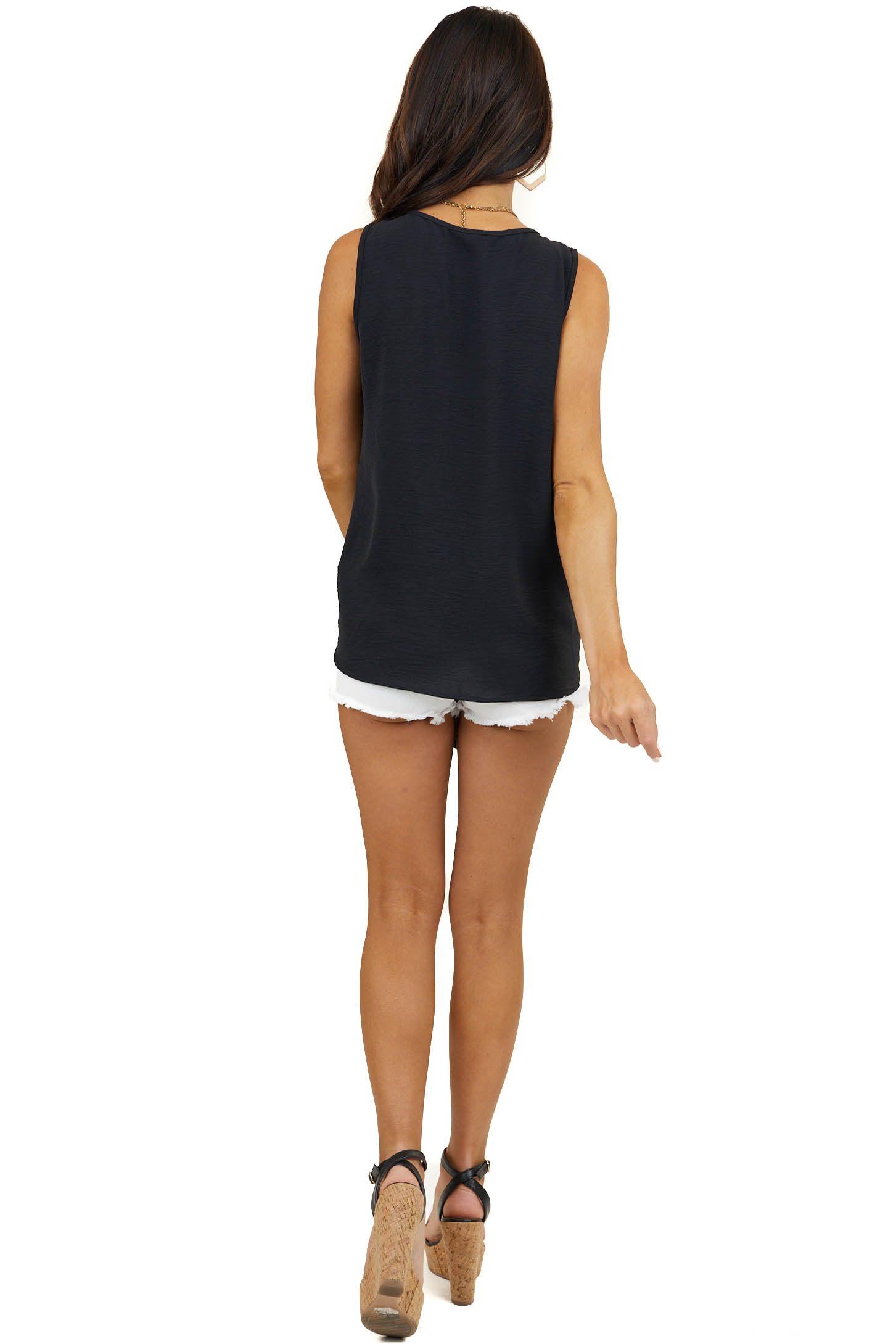 Black Sleeveless Woven Round Neck Top with Front Tie Detail