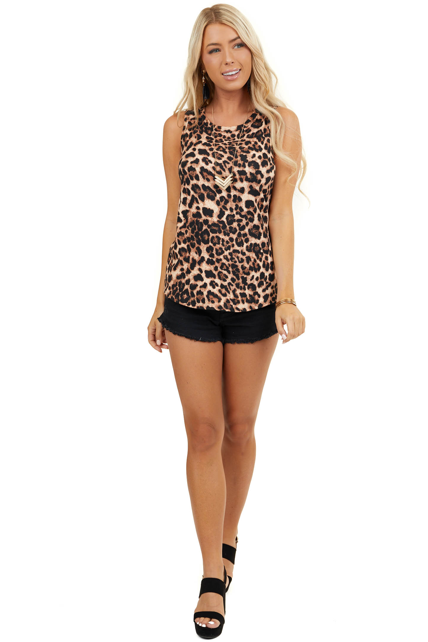 Desert Sand and Black Leopard Print Stretchy Knit Tank Top