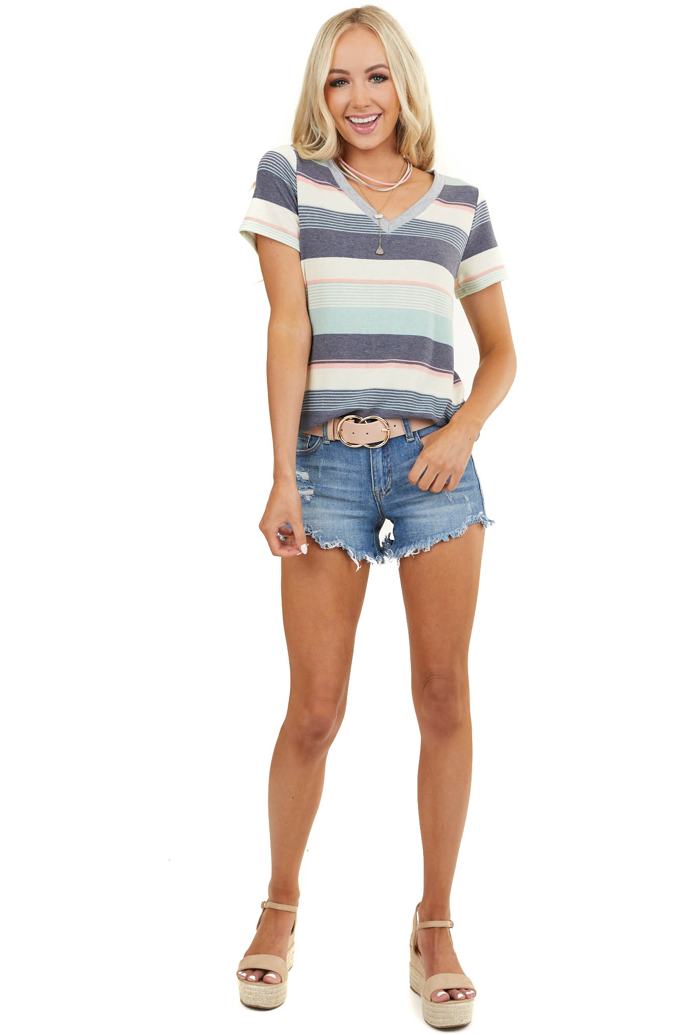 Blue Multicolor Striped Short Sleeve Top with Grey V Neck