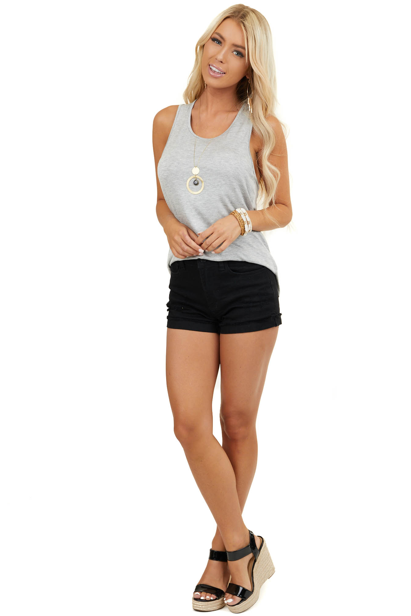 Heather Grey Sleeveless Knit Top with Twisted Back Detail