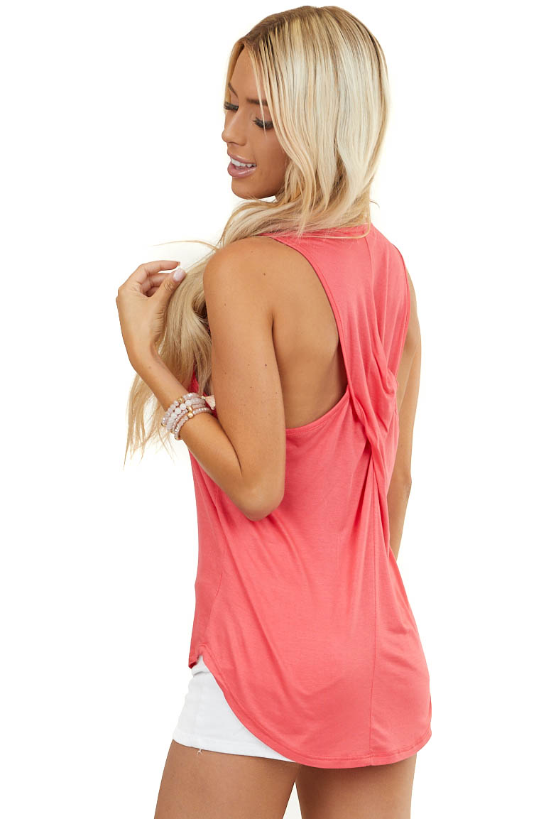 Bright Coral Sleeveless Knit Top with Twisted Back Detail