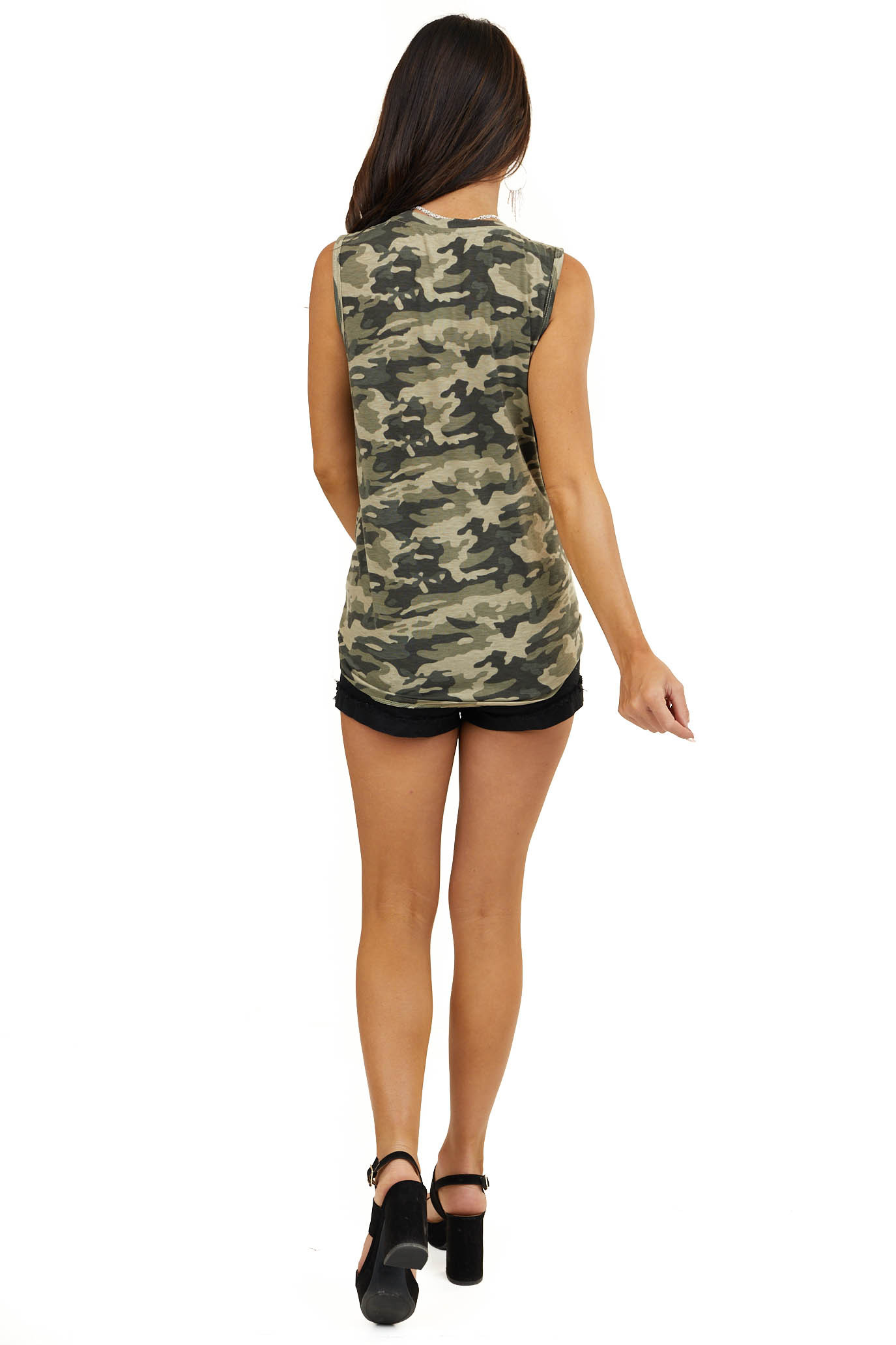 Olive Camo Print Sleeveless Knit Top with Front Tie Detail