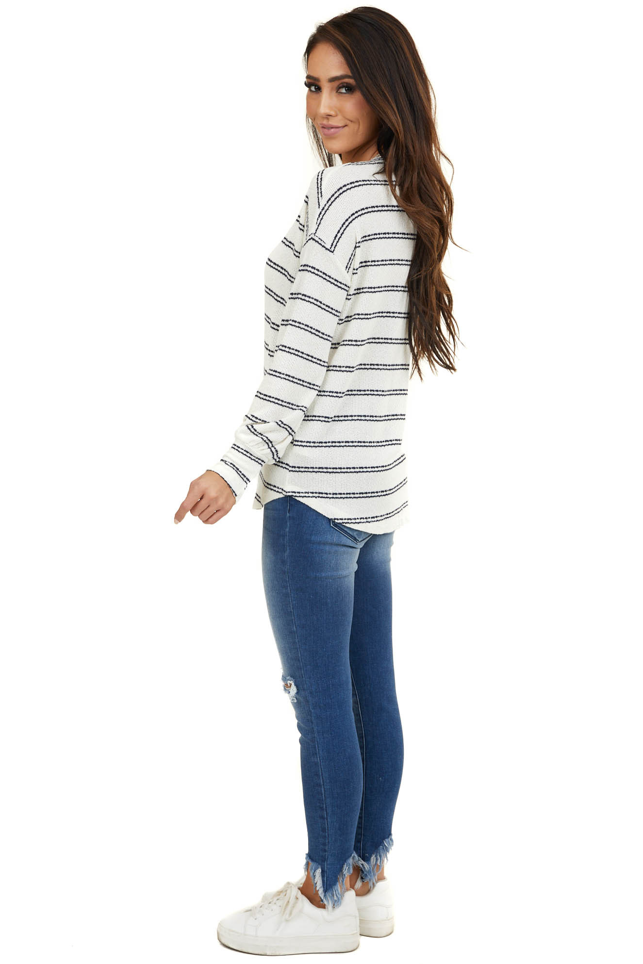 Ivory and Black Striped Knit Top with Long Sleeves