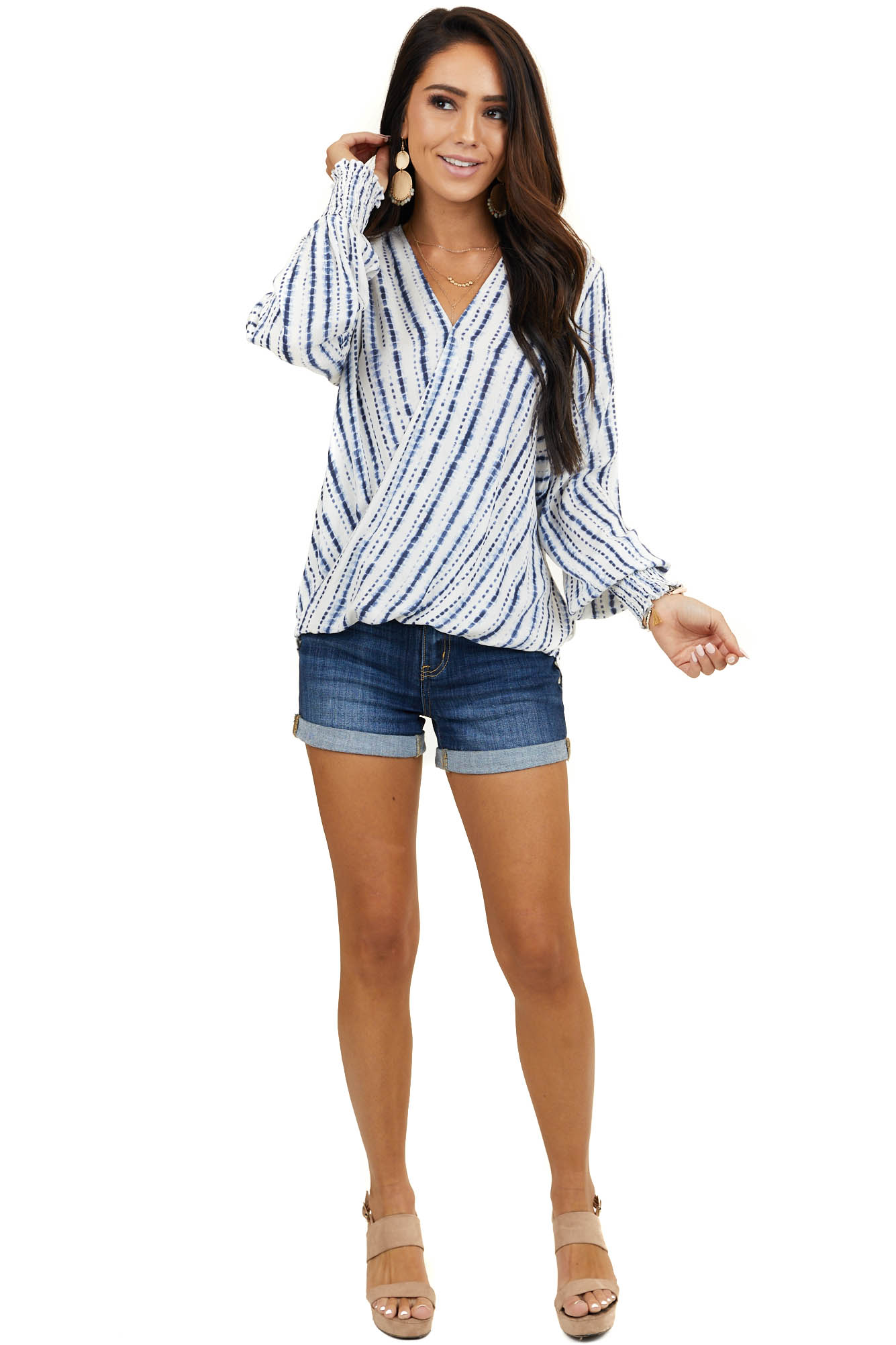 Ivory and Navy Tie Dye Striped Long Sleeve Surplice Top