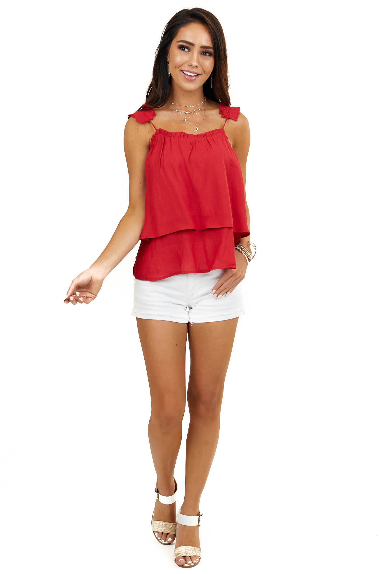 Crimson Red Layered Woven Tank Top with Ruffled Straps