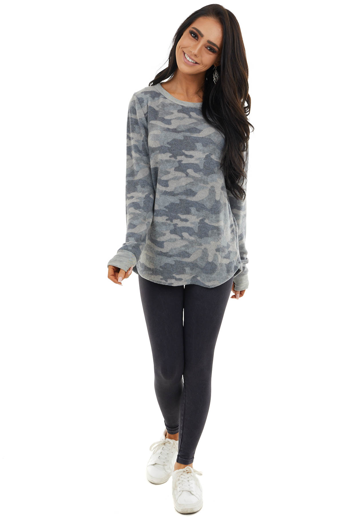 Ash Camo Print Brushed Knit Top with Long Sleeves