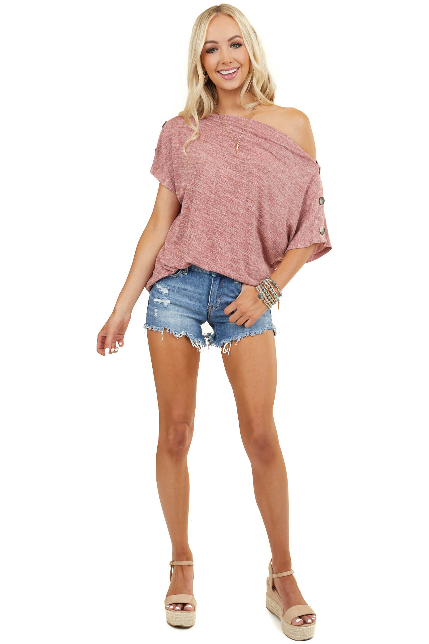 Dusty Blush Heathered Boat Neck Top with Button Details