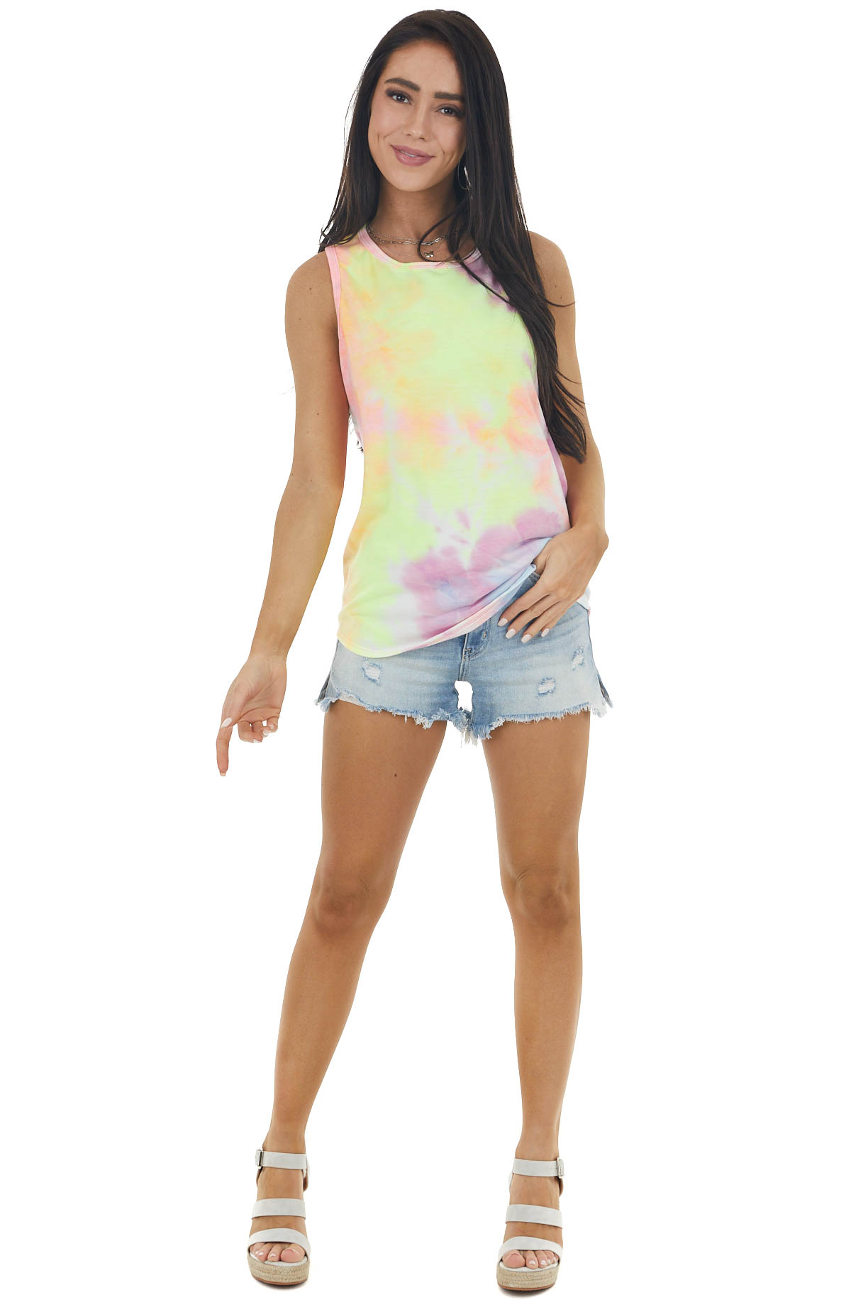 Rainbow Tie Dye Super Soft Tank Top with Rounded Hemline