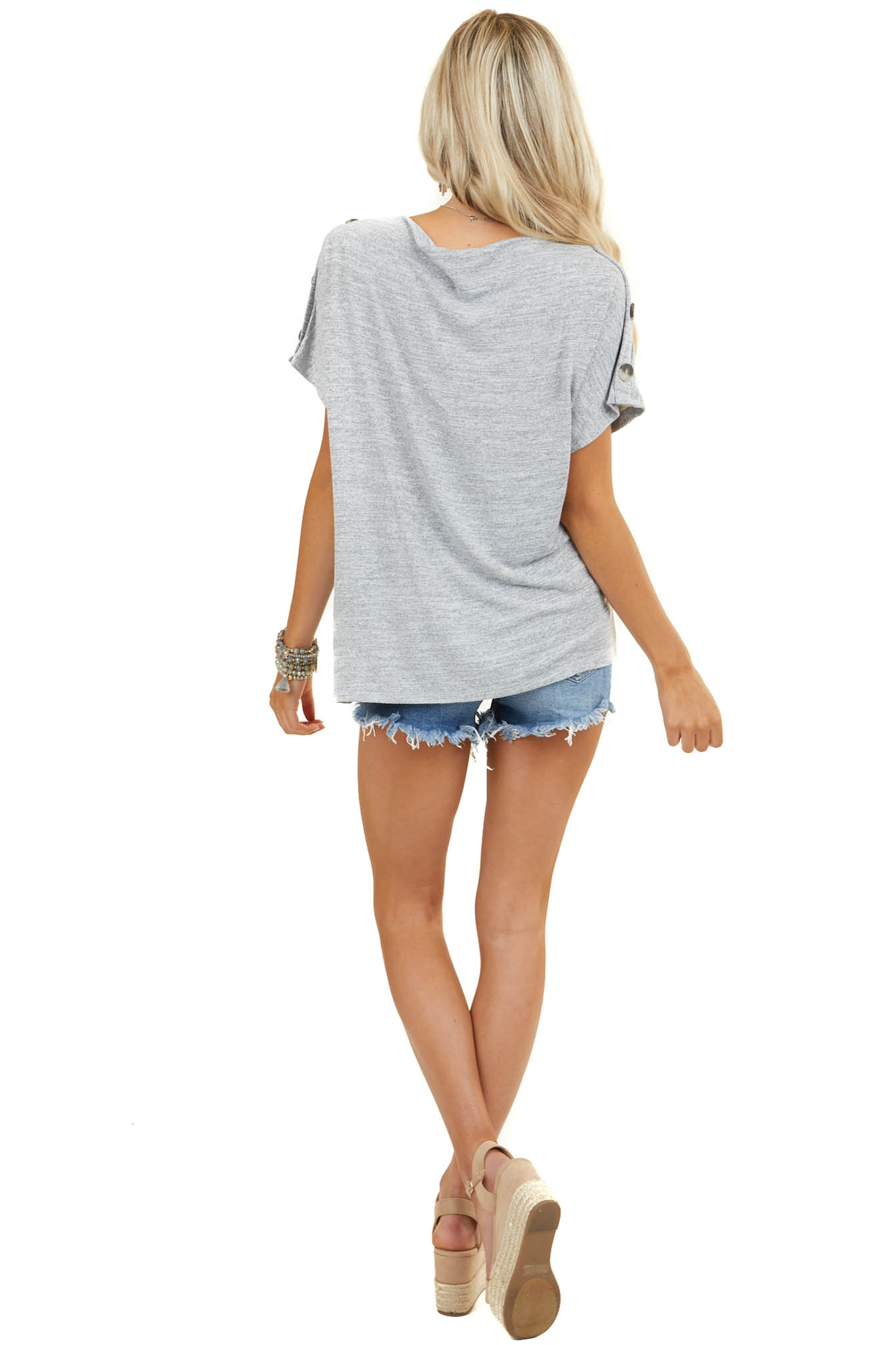Grey Heathered Boat Neck Top with Button Details