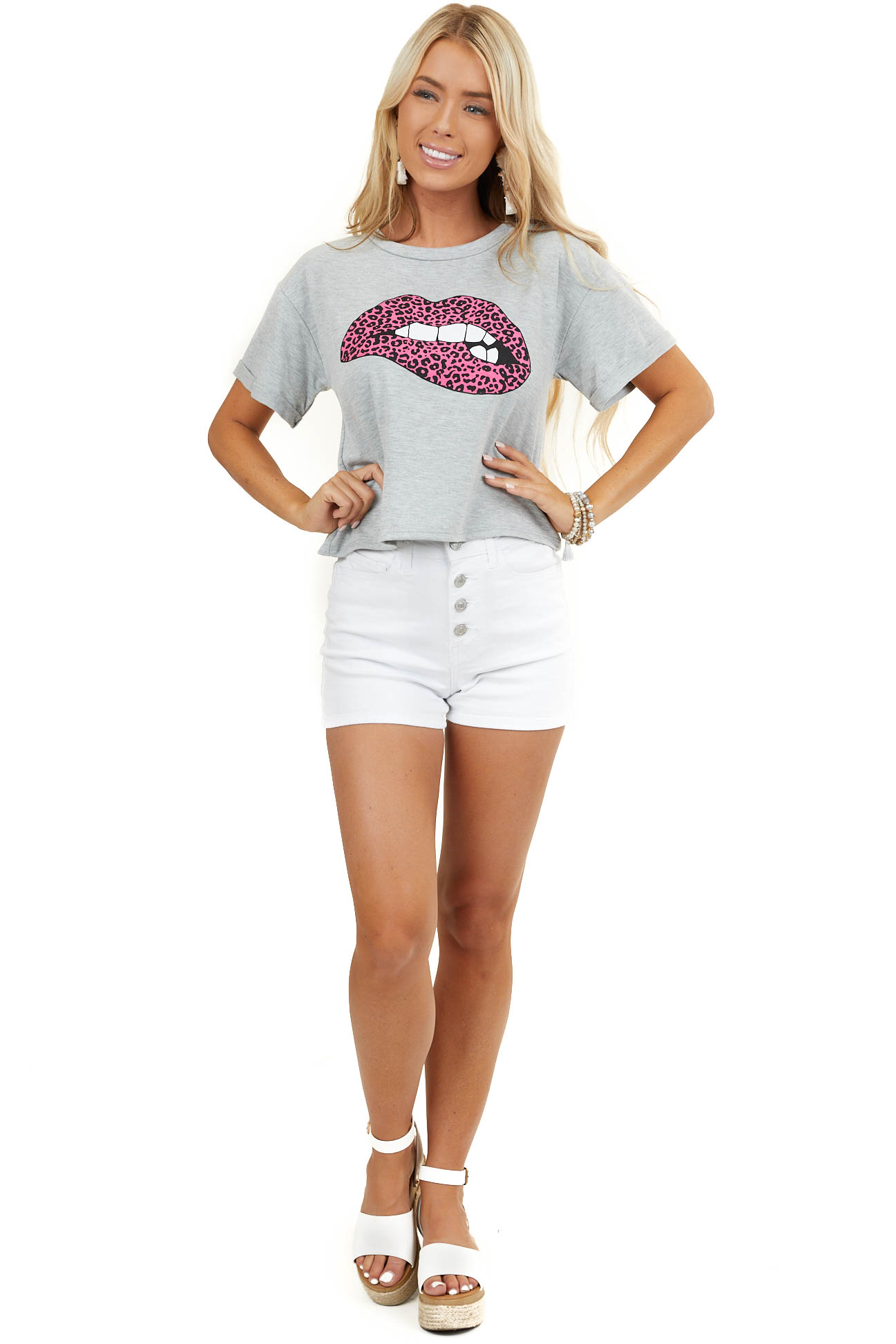 Heather Grey Crop Top with Leopard Print Lip Graphic