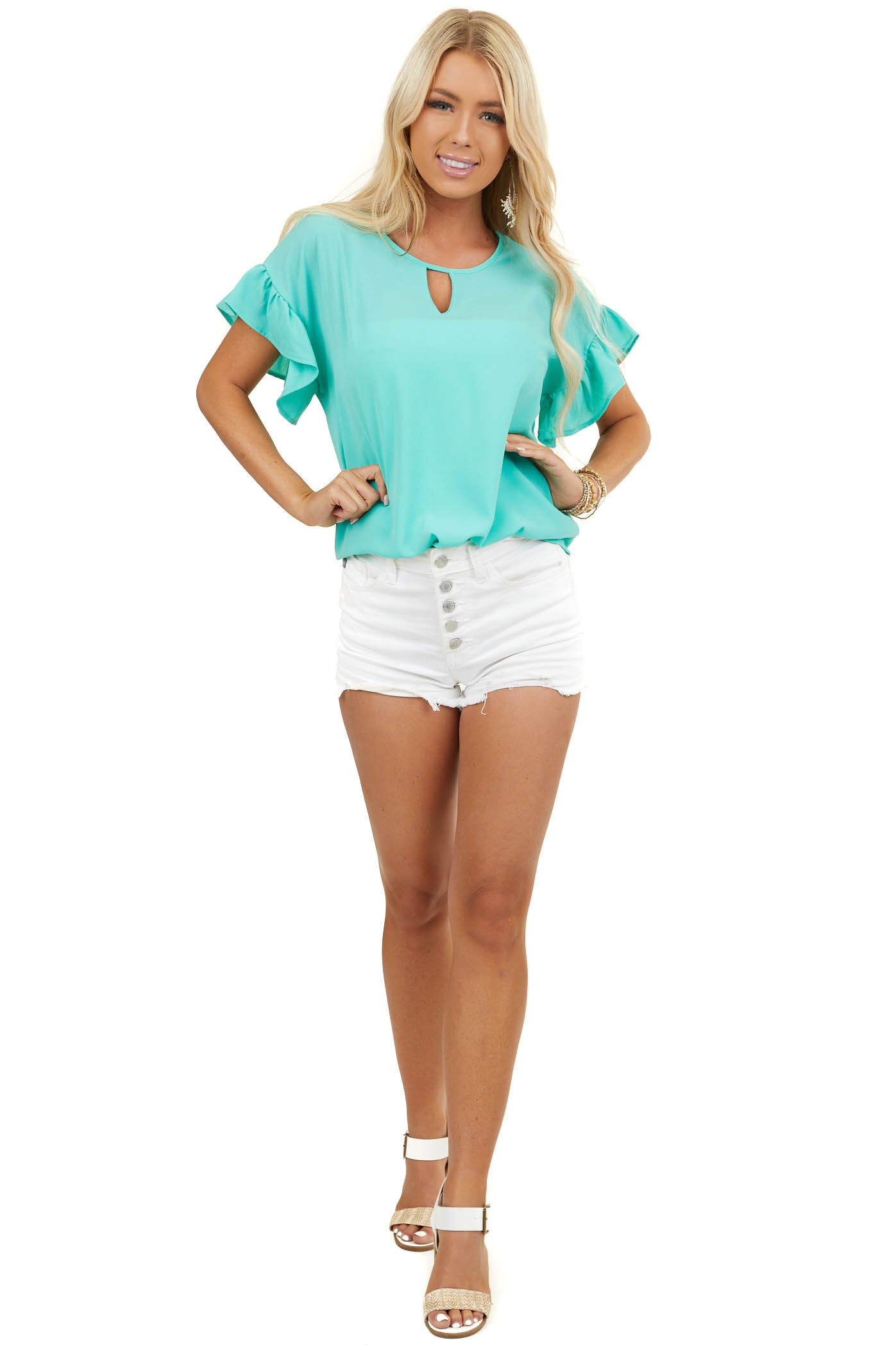 Dark Mint Short Ruffle Sleeve Woven Top with Front Cutout