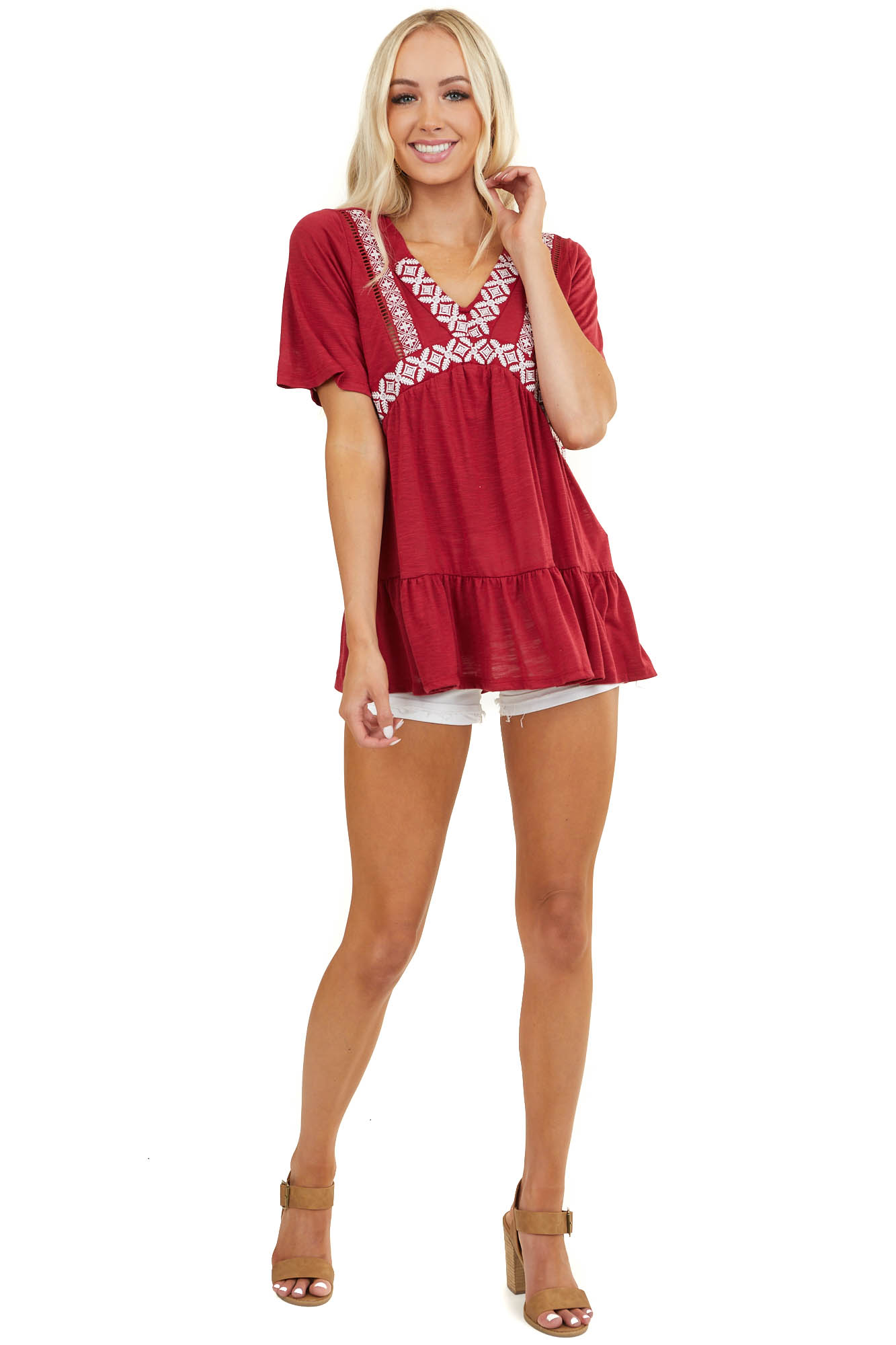 Burgundy Tunic Top with Ruffle Hem and Embroidery Detail