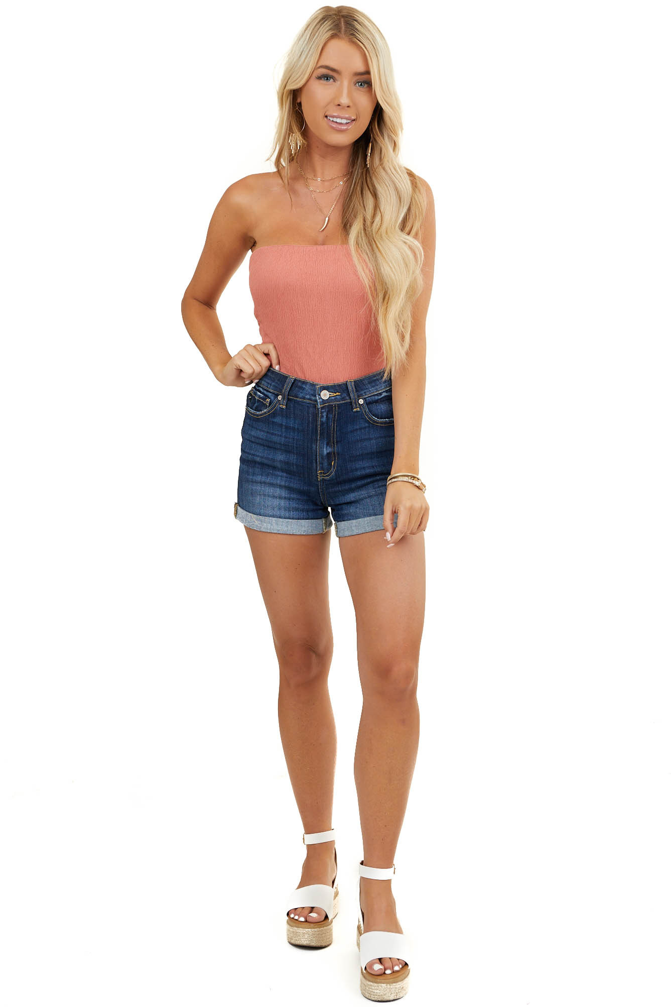 Dusty Salmon Strapless Textured Knit Bodysuit with Back Tie