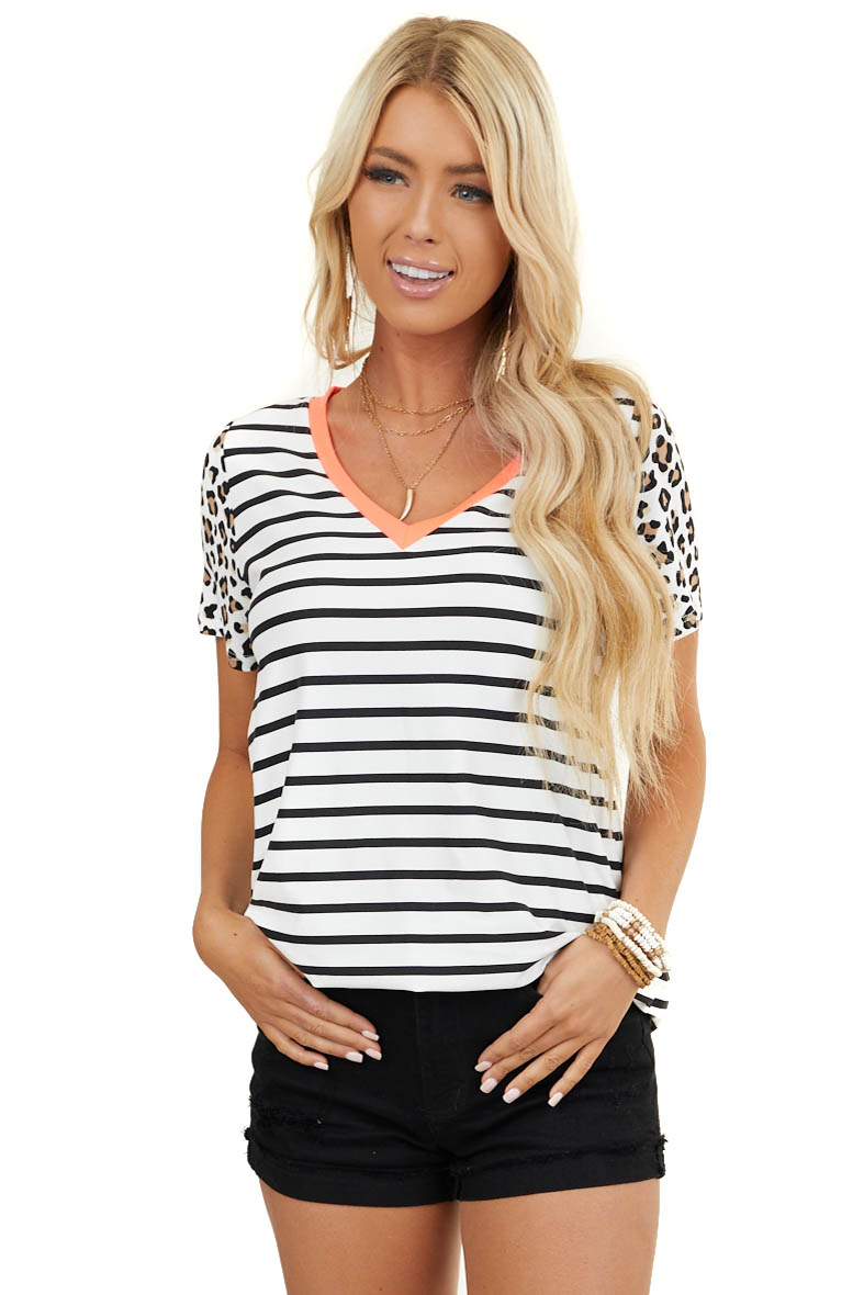Black and White Stripe Print Top with Leopard Print Sleeves
