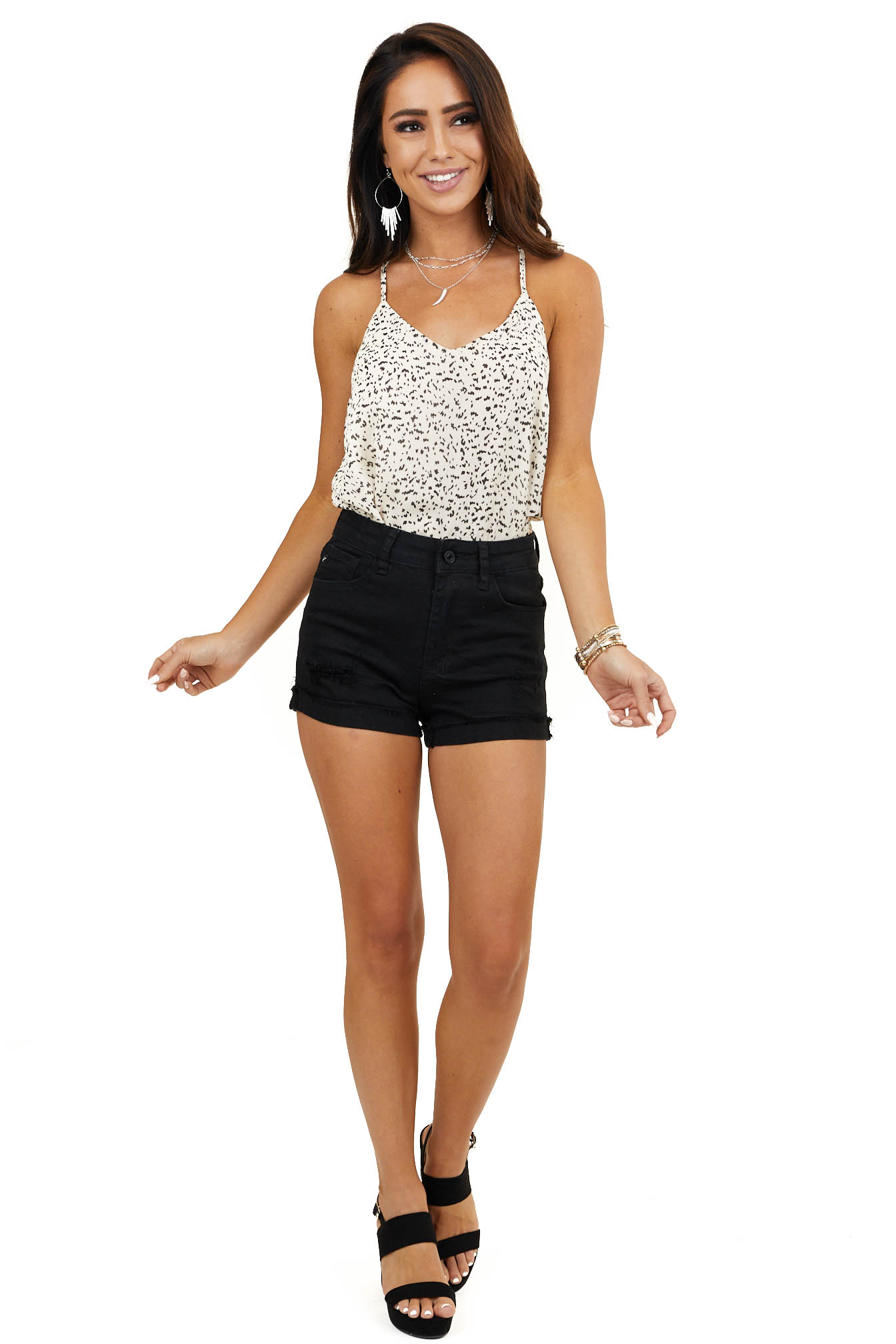 Cream Leopard Print Racerback Tank Top with V Neckline