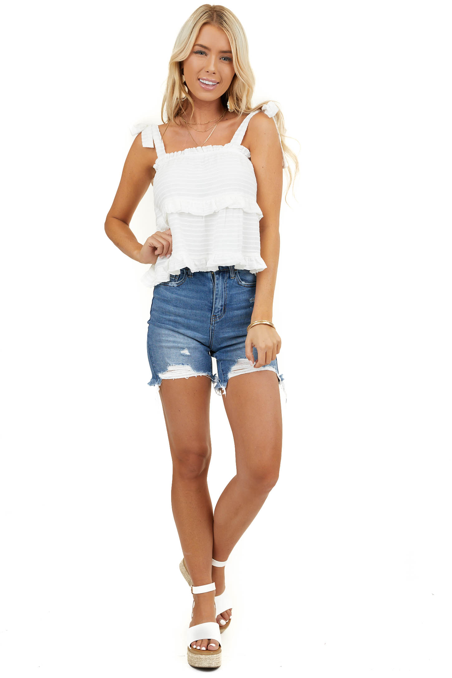 Off White Textured Ruffled Tank Top with Tie Details