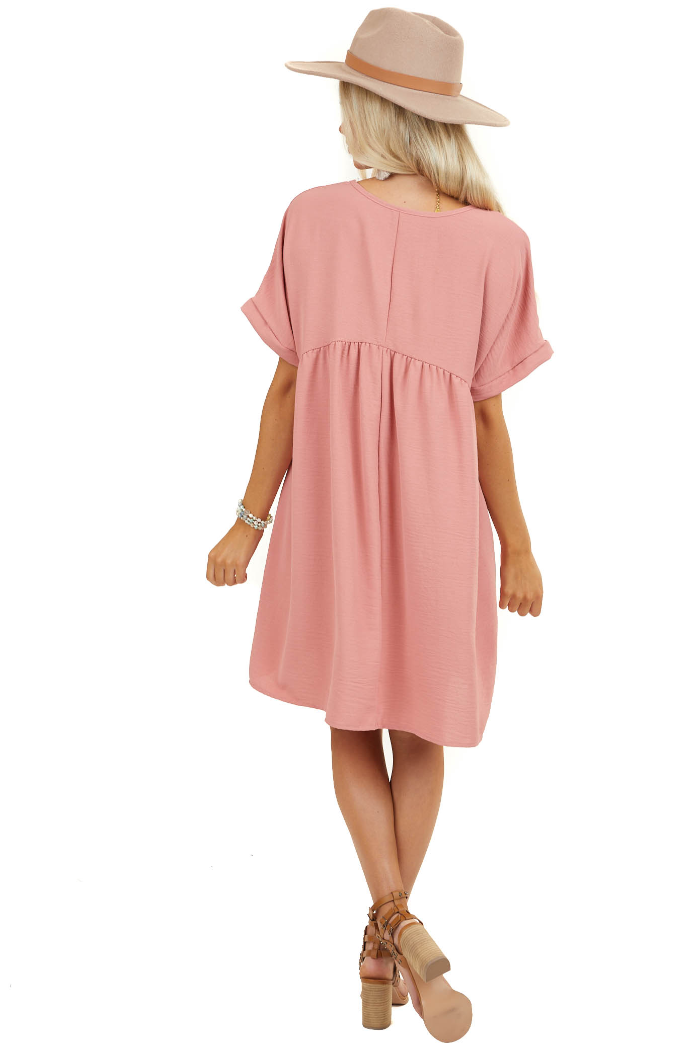 Blush Babydoll Short Cuffed Sleeve Dress with Rounded V Neck