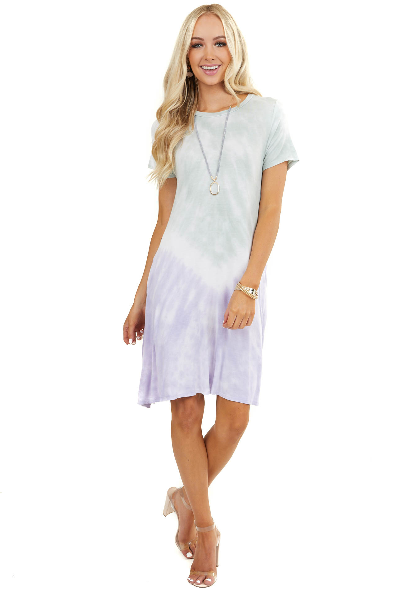 Pale Violet and Seafoam Tie Dye Short Dress with Pockets