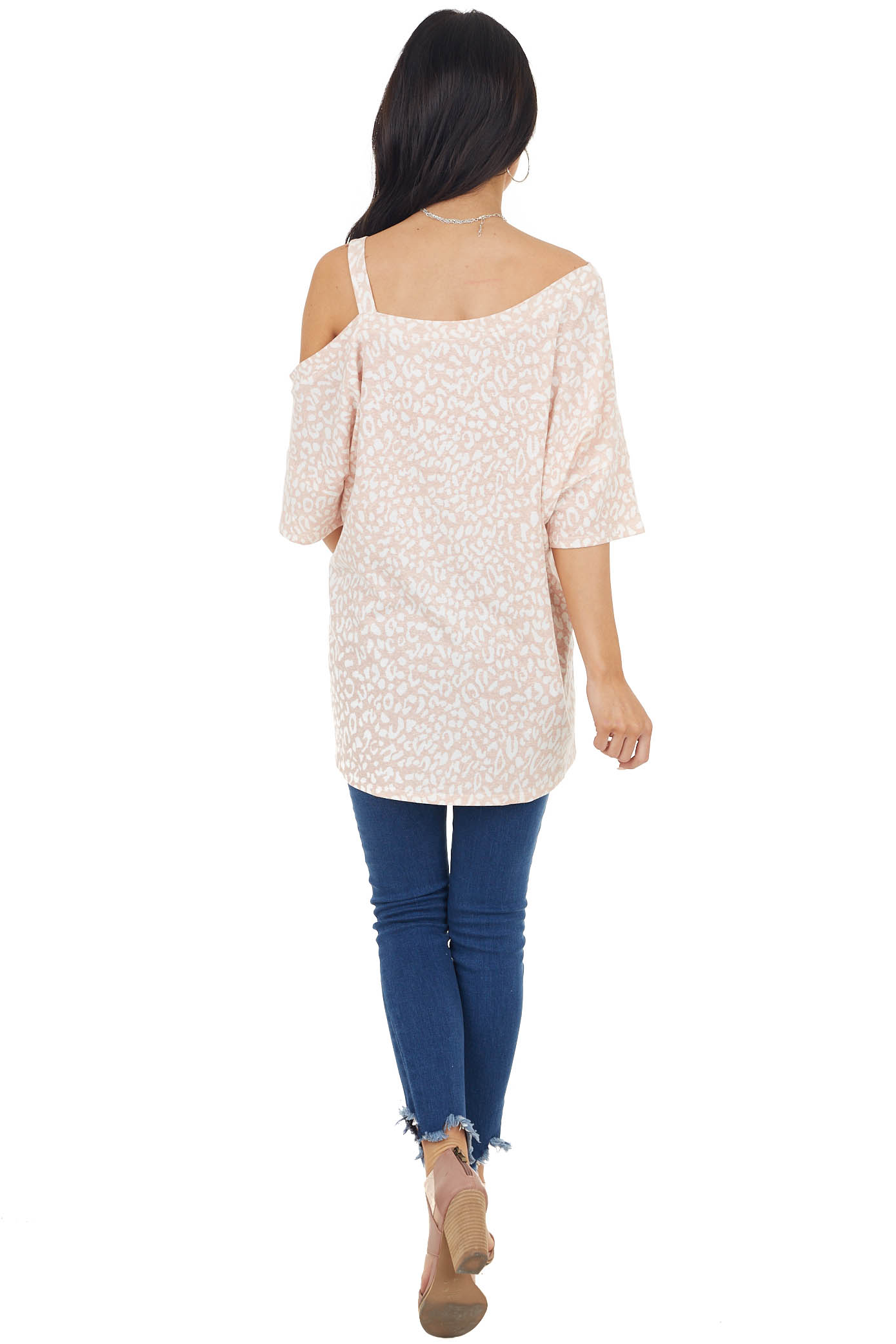 Blush Leopard Print Short Sleeve Top with One Cold Shoulder