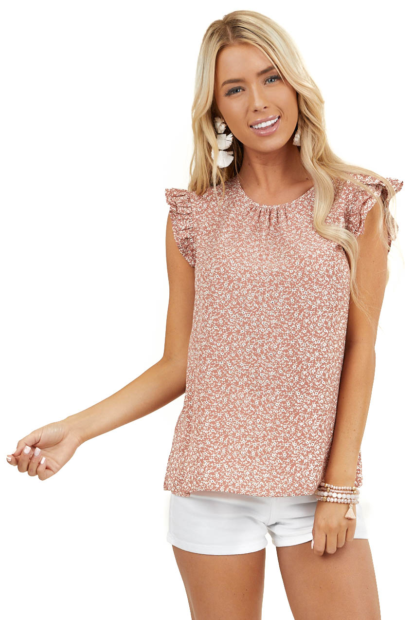 Terracotta Floral Print Blouse with Short Ruffle Sleeves