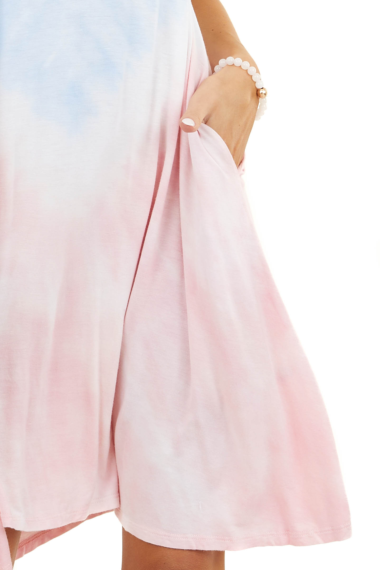 Baby Blue and Light Pink Tie Dye Short Dress with Pockets