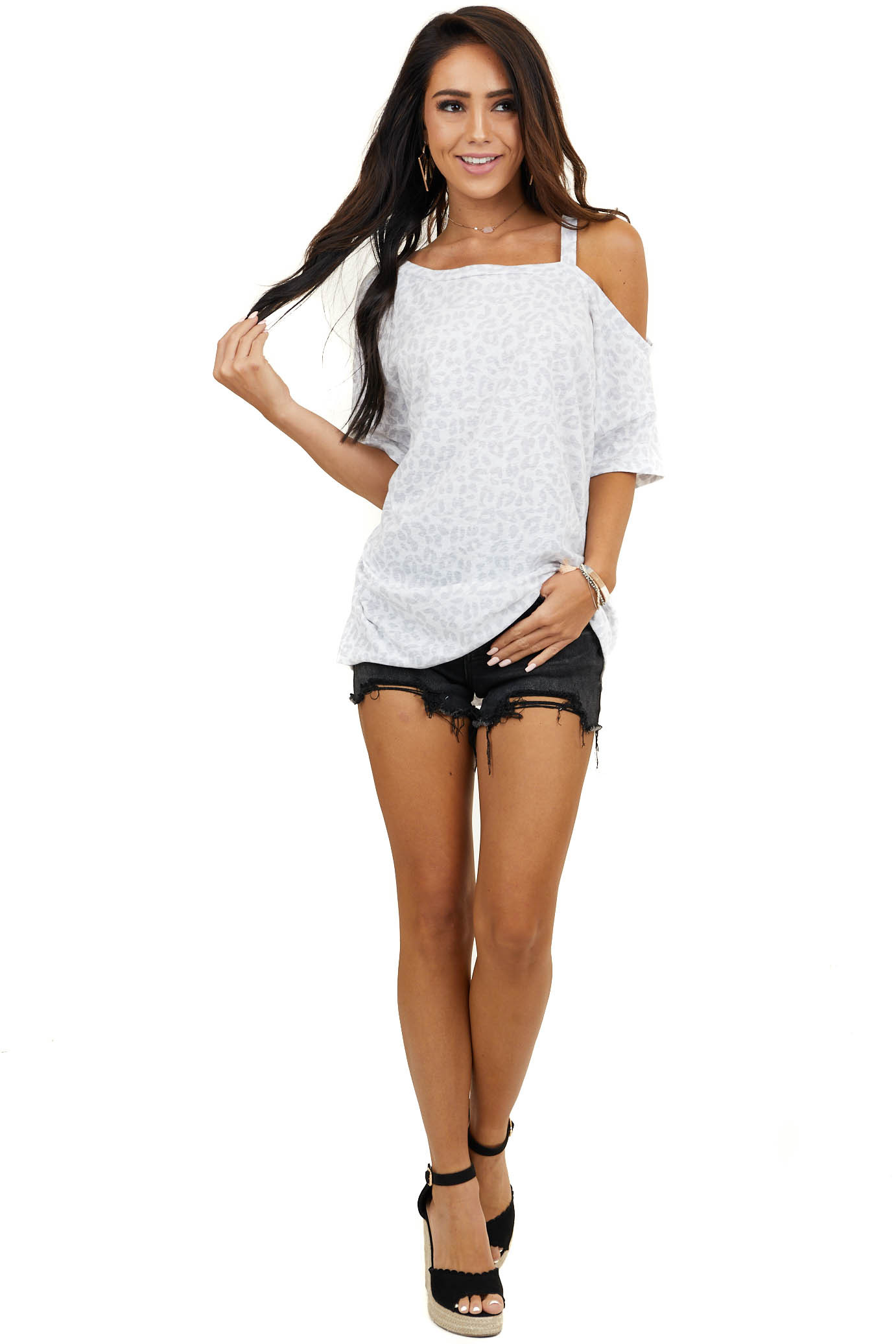 Grey Leopard Print Short Sleeve Top with One Cold Shoulder