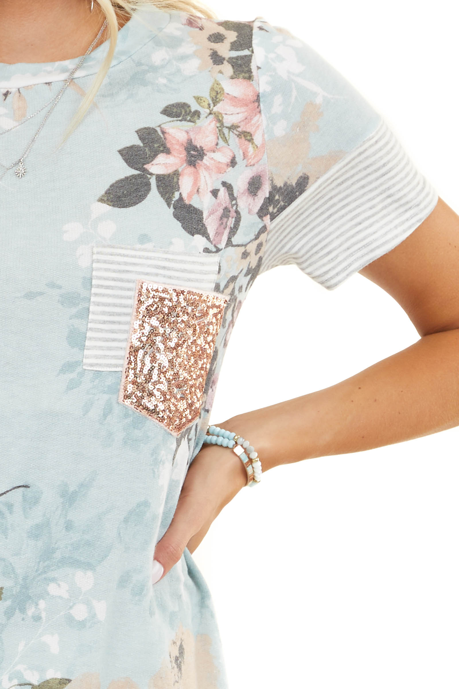 Baby Blue Floral Print Top with Rose Gold Sequin Pocket