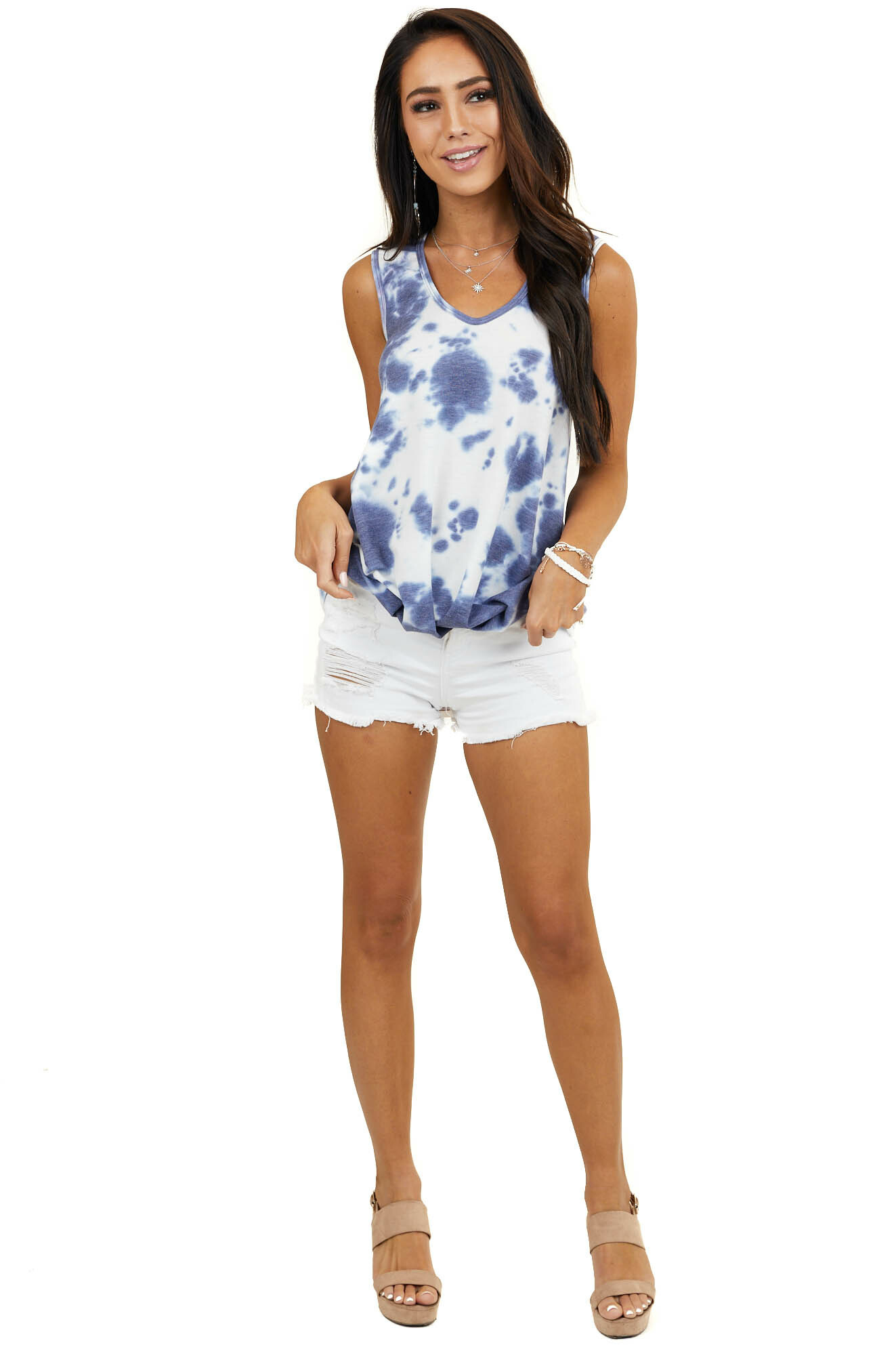 Dusty Blue Tie Dye Sleeveless Top with Front Gathered Detail