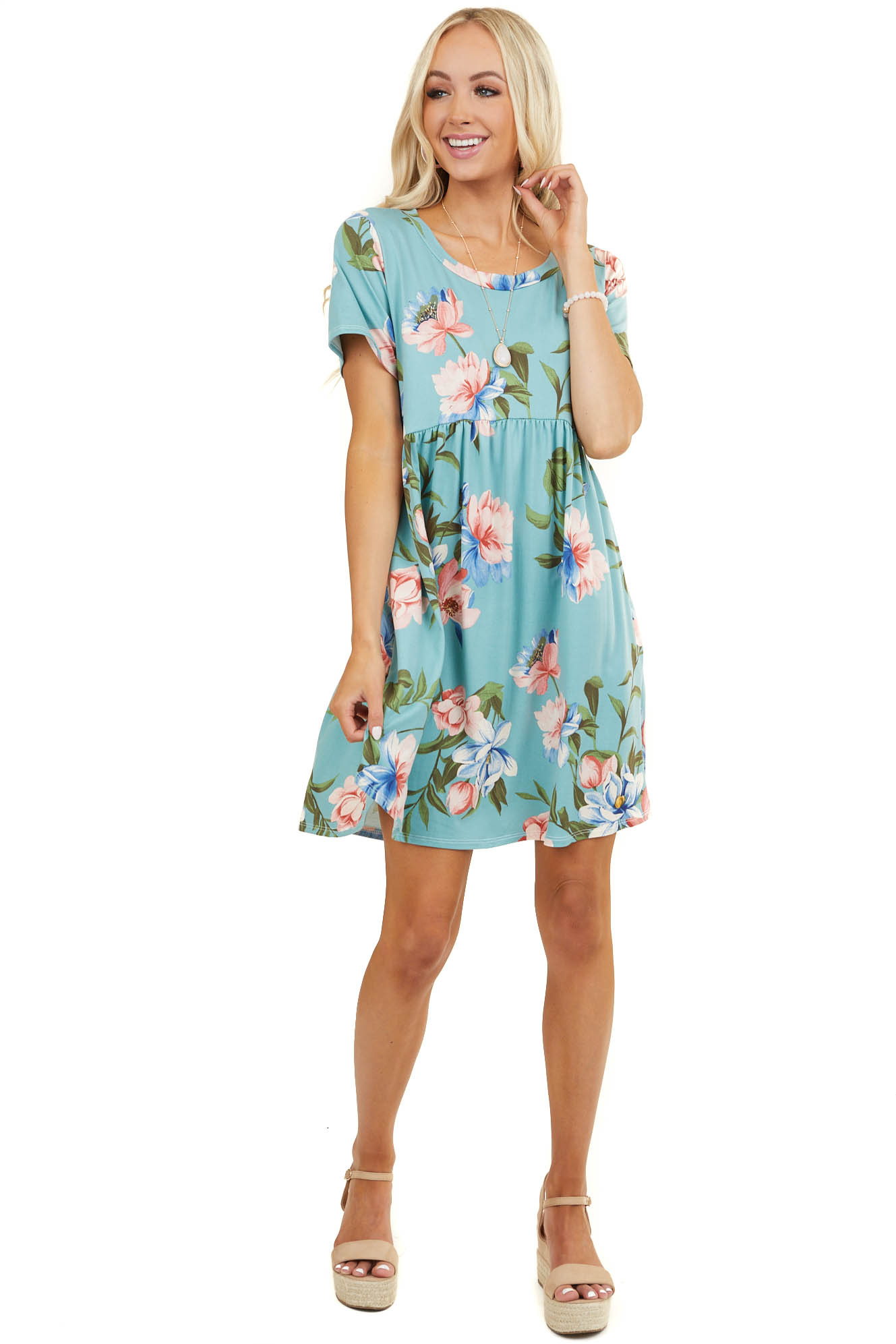 Teal Floral Babydoll Short Dress with Round Neck and Pockets