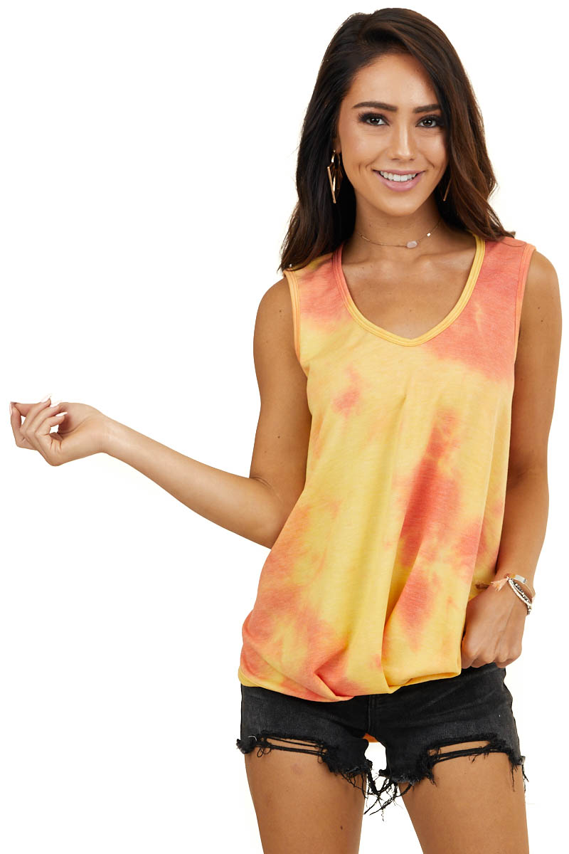 Amber Tie Dye Sleeveless Top with Front Gathered Detail