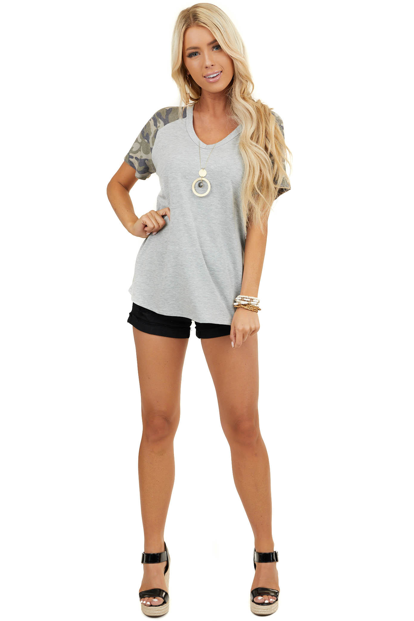 Heather Grey Baseball Tee with Camo Print Short Sleeves