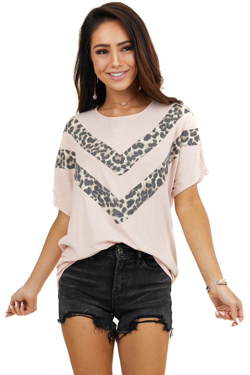 Blush Short Sleeve Top with Leopard Print Chevron Details