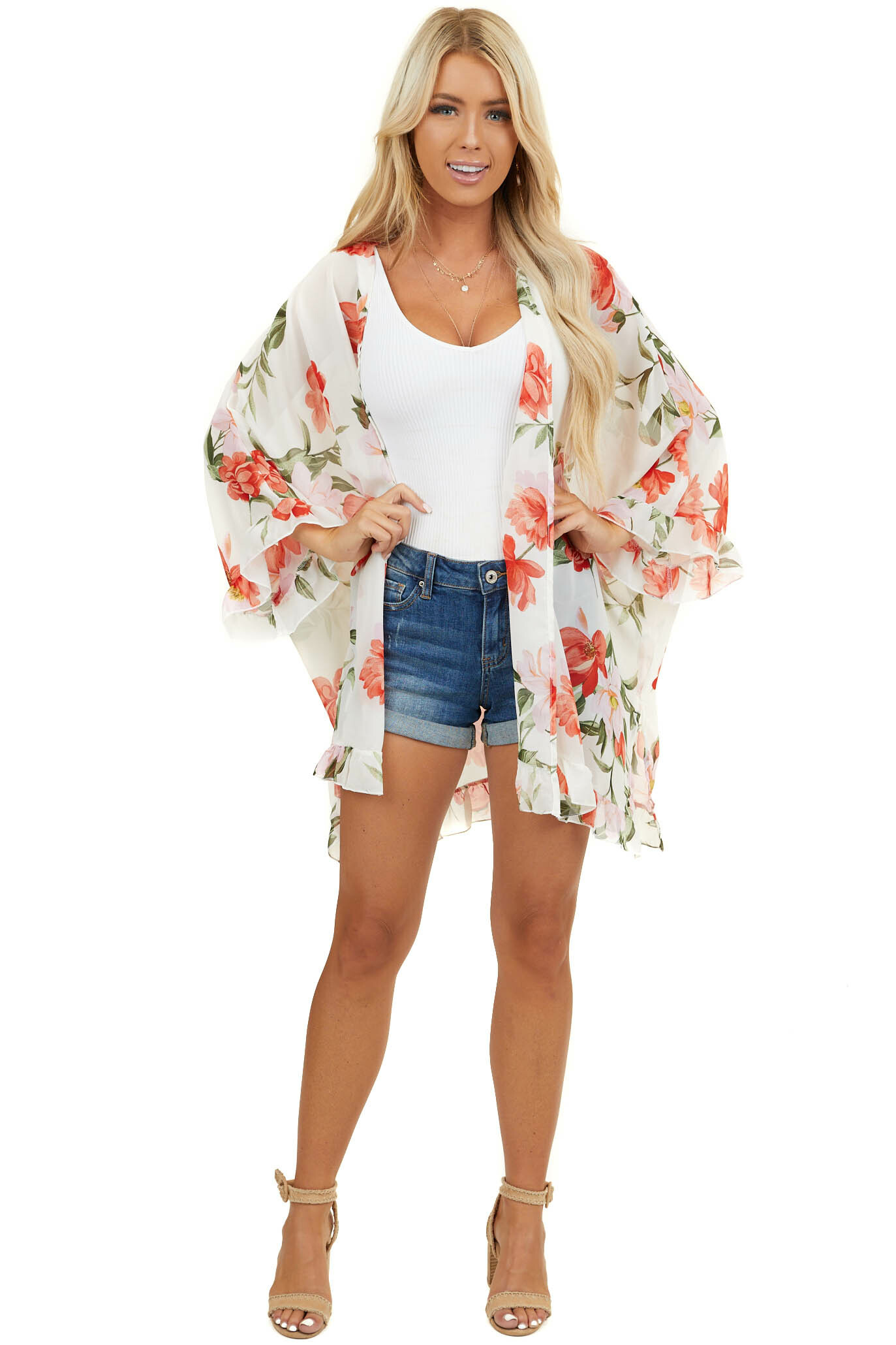 Ivory Half Sleeve Sheer Floral Kimono with Ruffle Details