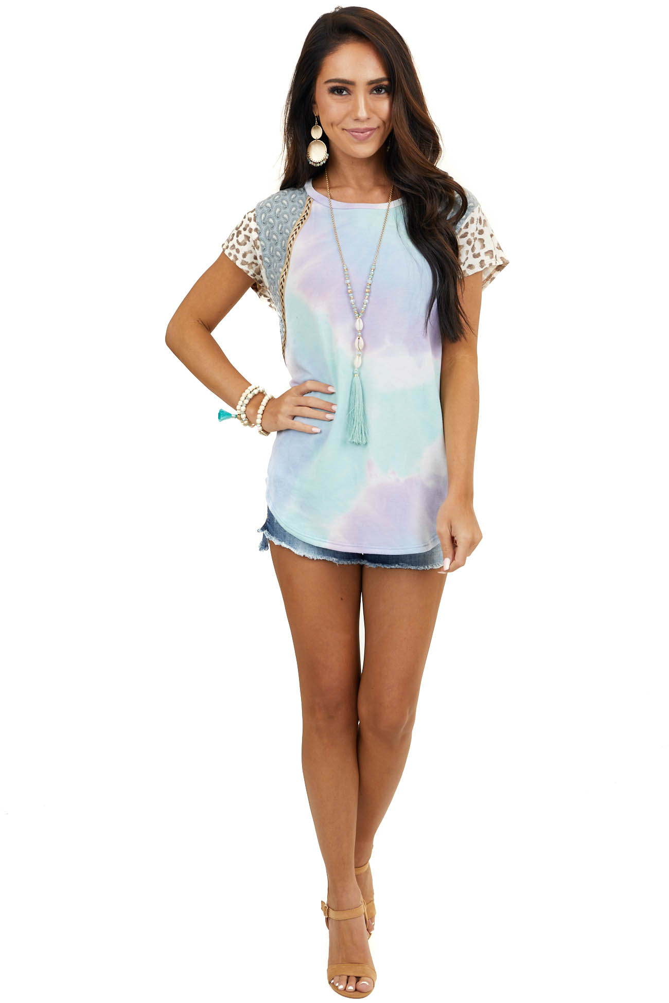 Blue Multicolor Multiprint Top with Contrast Short Sleeves
