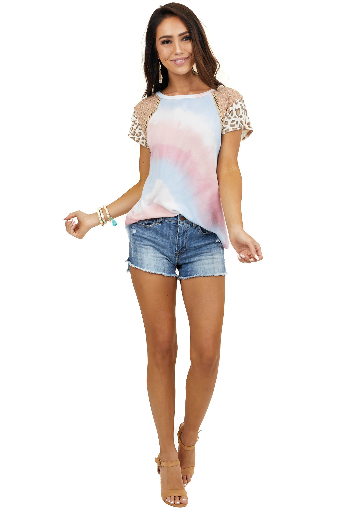 Pink Multicolor Multiprint Top with Contrast Short Sleeves