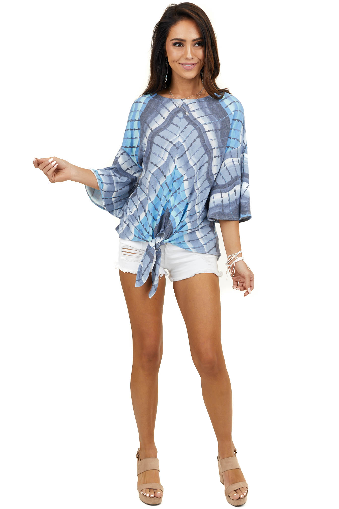 Blue Printed Short Flared Sleeve Knit Top with Front Tie