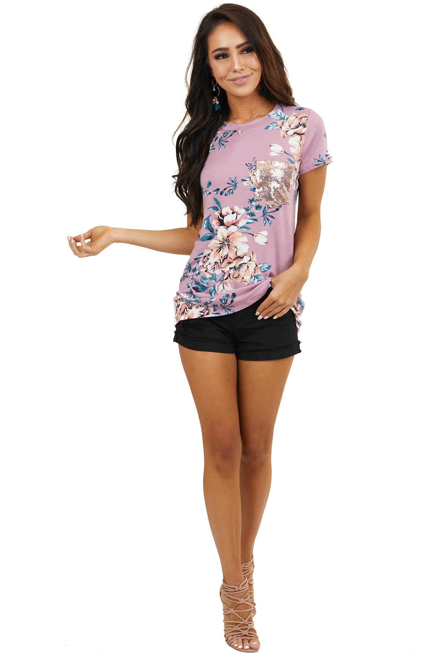 Dusty Rose Short Sleeve Floral Top with Sequin Front Pocket