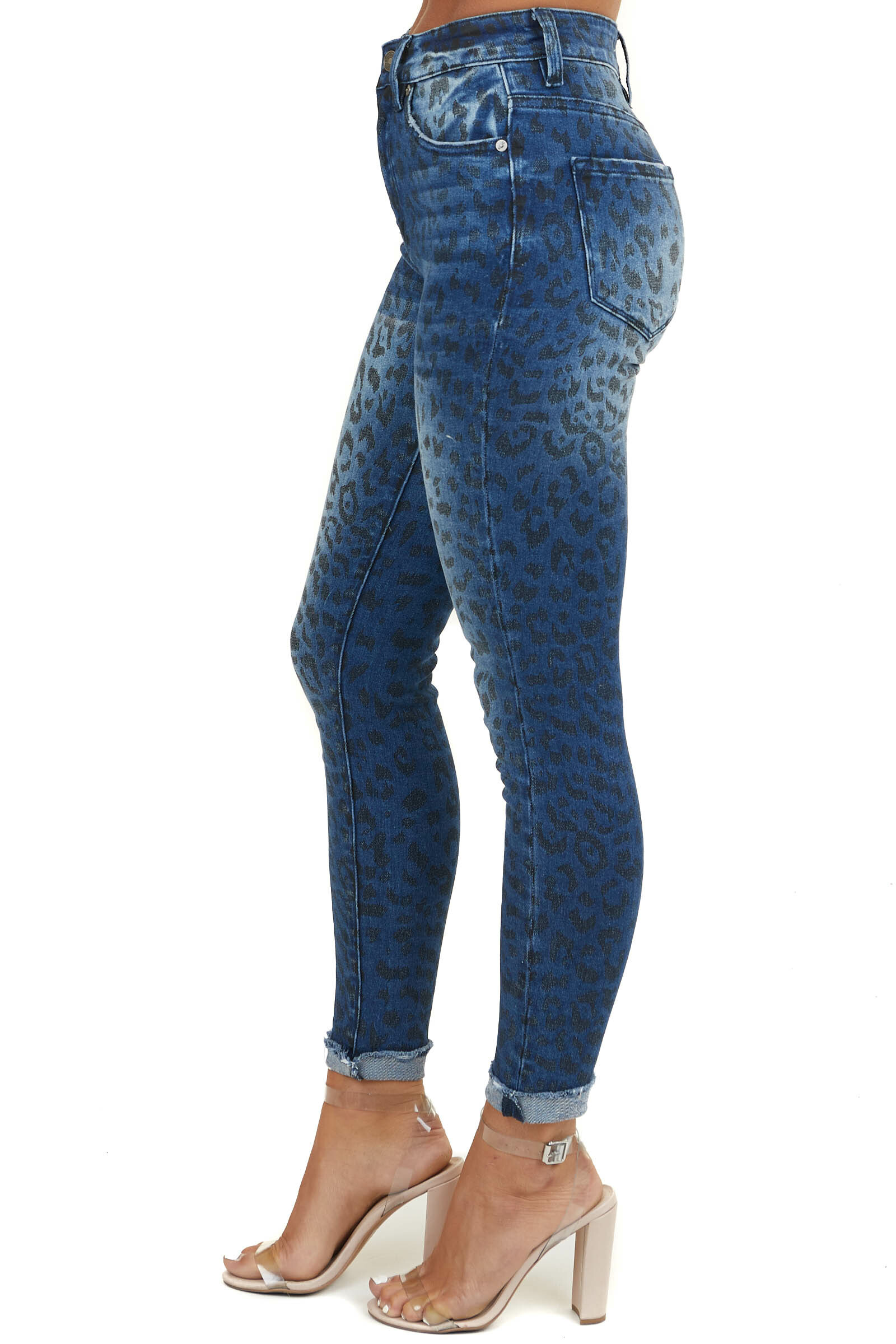 Dark Wash Denim Blue High Rise Jeans with Leopard Print