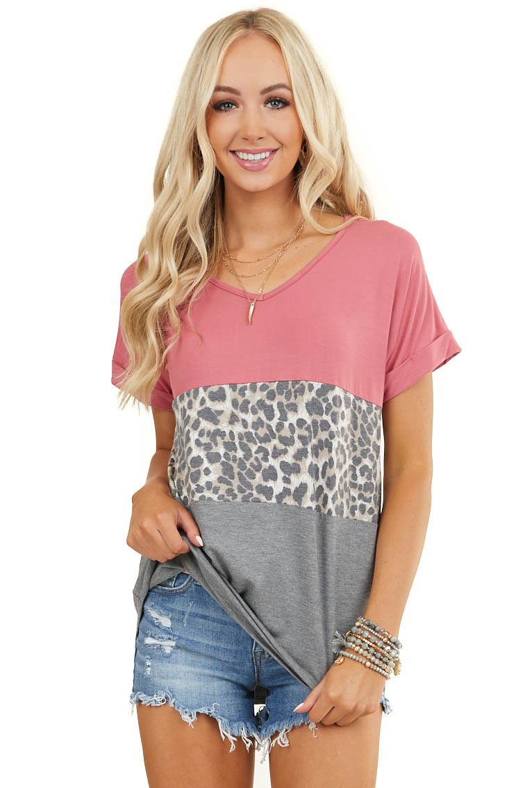 Marsala Colorblock Leopard Print Short Sleeve Knit Top